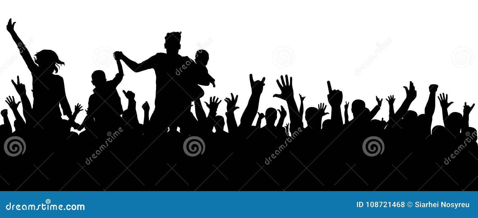 Vrolijk menigtesilhouet De partijmensen, juichen toe Het overleg van de ventilatorsdans, disco Handen omhoog
