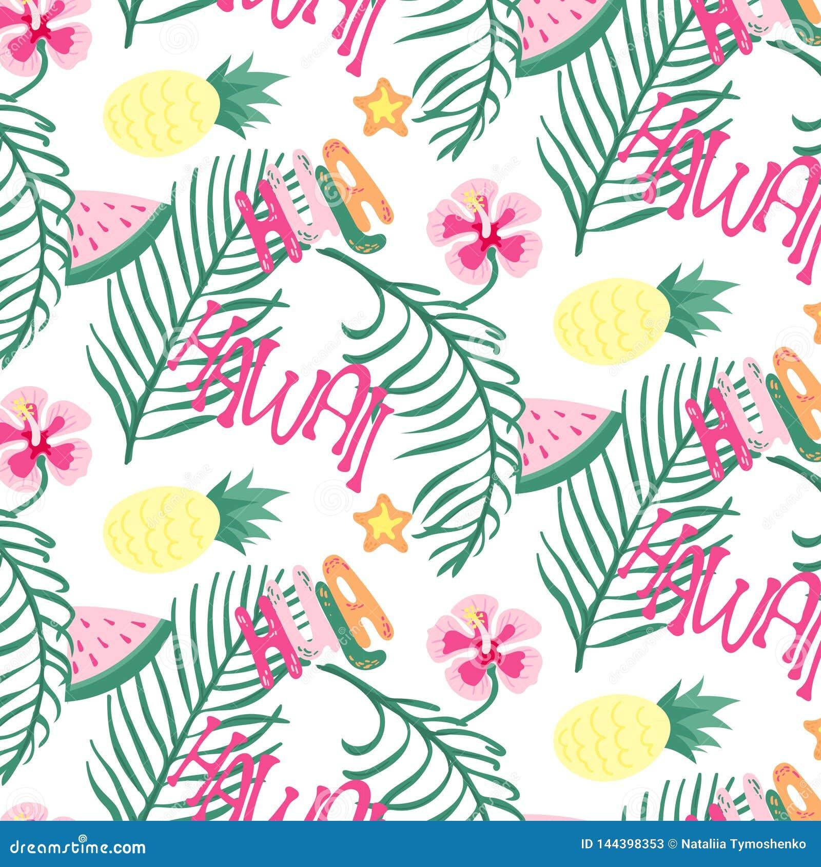 Vrolijk naadloos het patroonbehang van strandhawaï van tropische donkergroene bladeren van palmen en bloemenparadijsvogel,