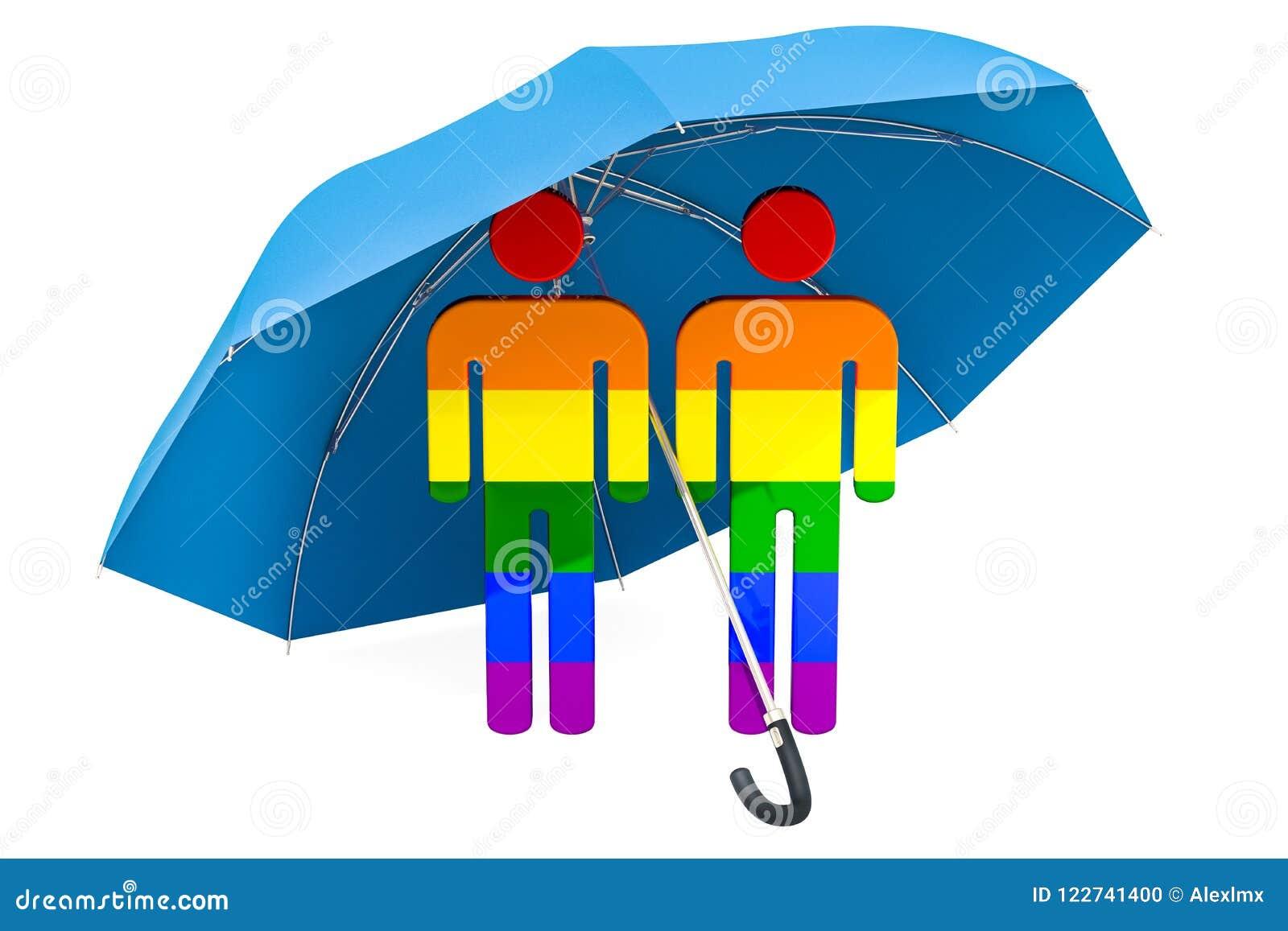 Vrolijke Familie onder paraplu Veiligheid en veilig concept 3D renderi