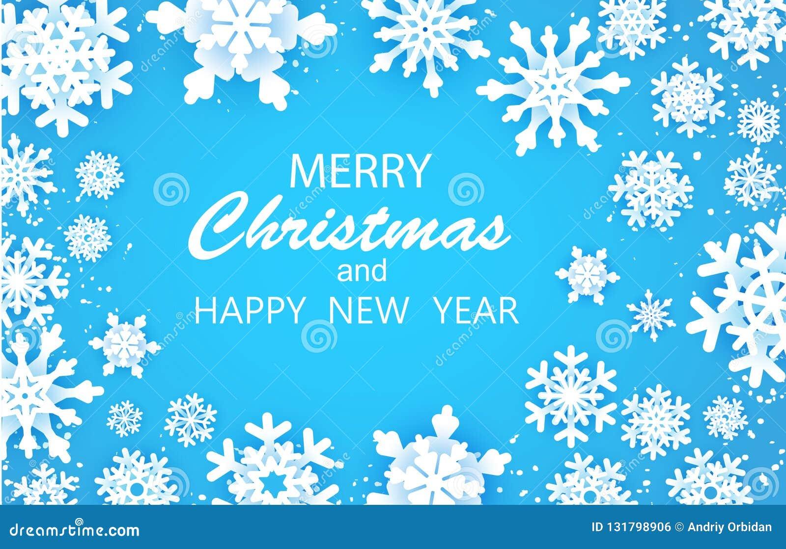 Vrolijke Gelukkige Kerstmis en de kaart van Nieuwjaargroeten De witte vlok van de Sneeuw De sneeuwvlokkenachtergrond van de winte