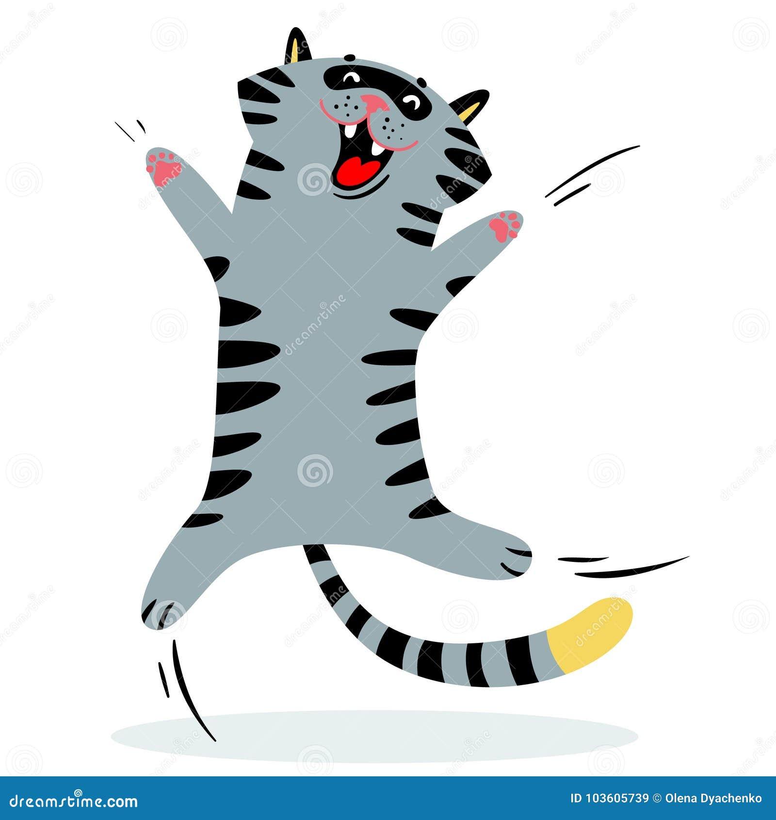 Vrolijke het springen kat Katachtig grappig karakter