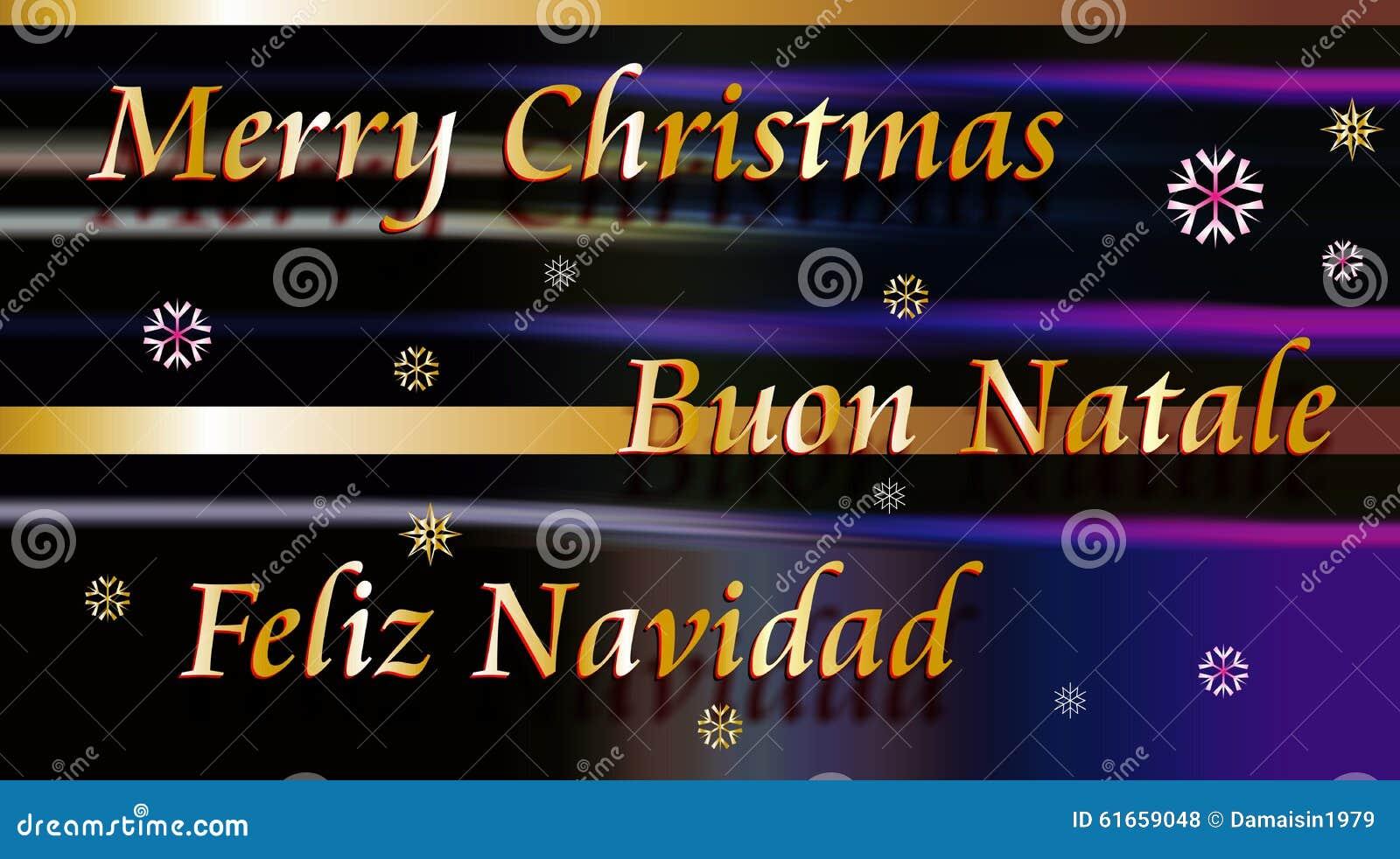 Vrolijke Kerstmis Buon Natale En Feliz Navidad Stock Illustratie