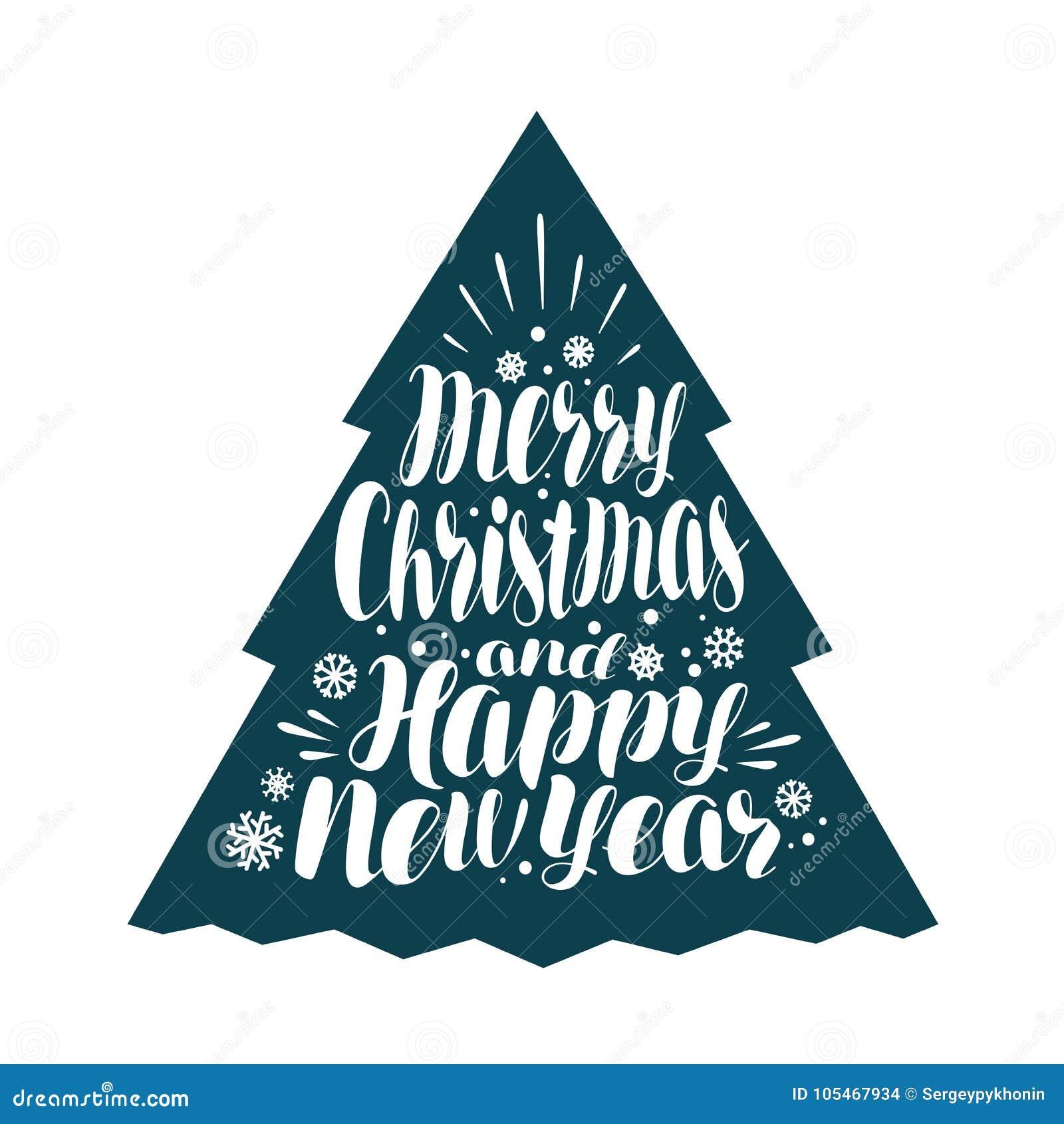 Vrolijke Kerstmis en Gelukkig Nieuwjaar Het met de hand geschreven van letters voorzien, kalligrafie vectorillustratie