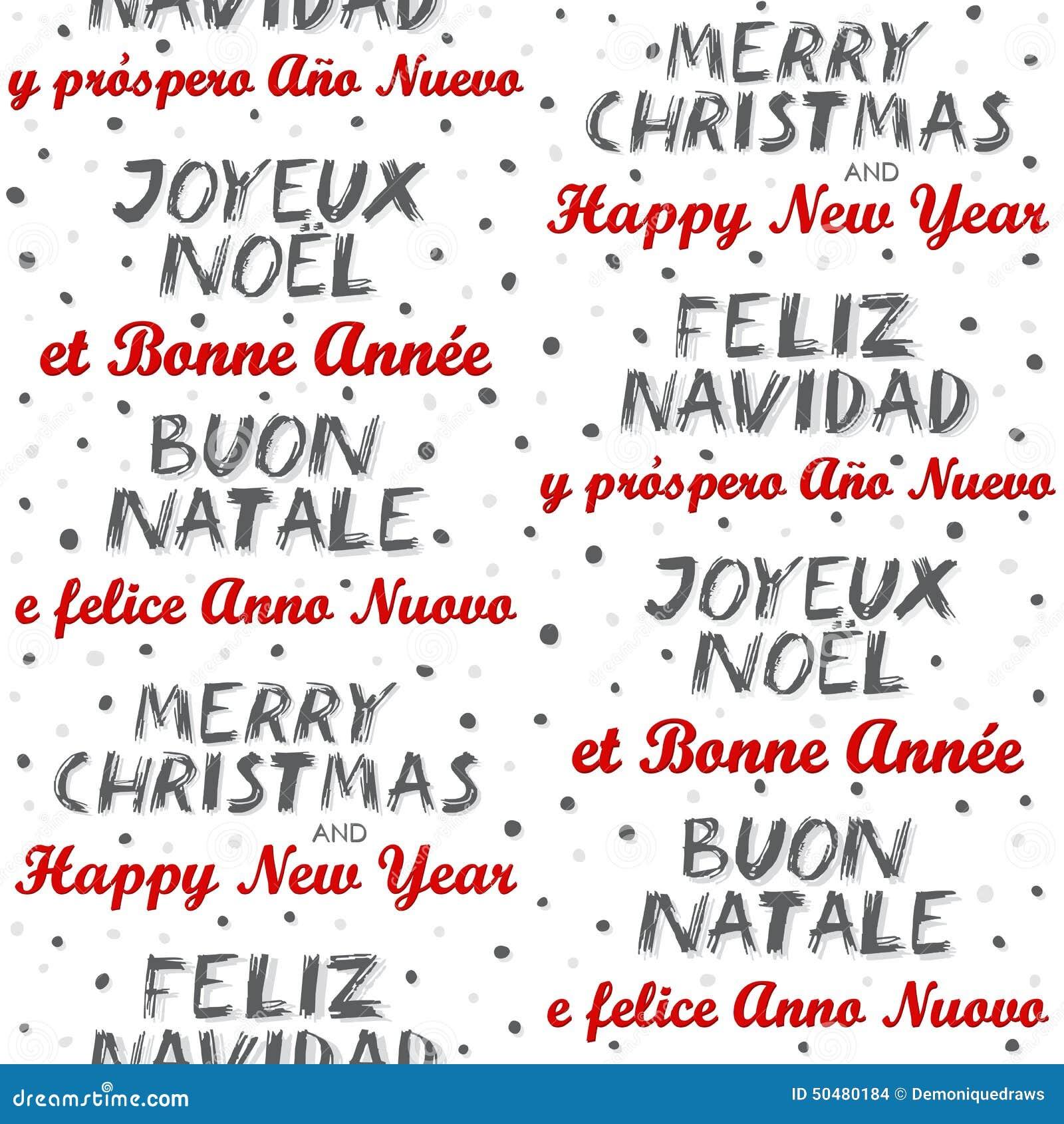 Vrolijke Kerstmis En Gelukkig Nieuwjaar Meertalig Naadloos Patroon