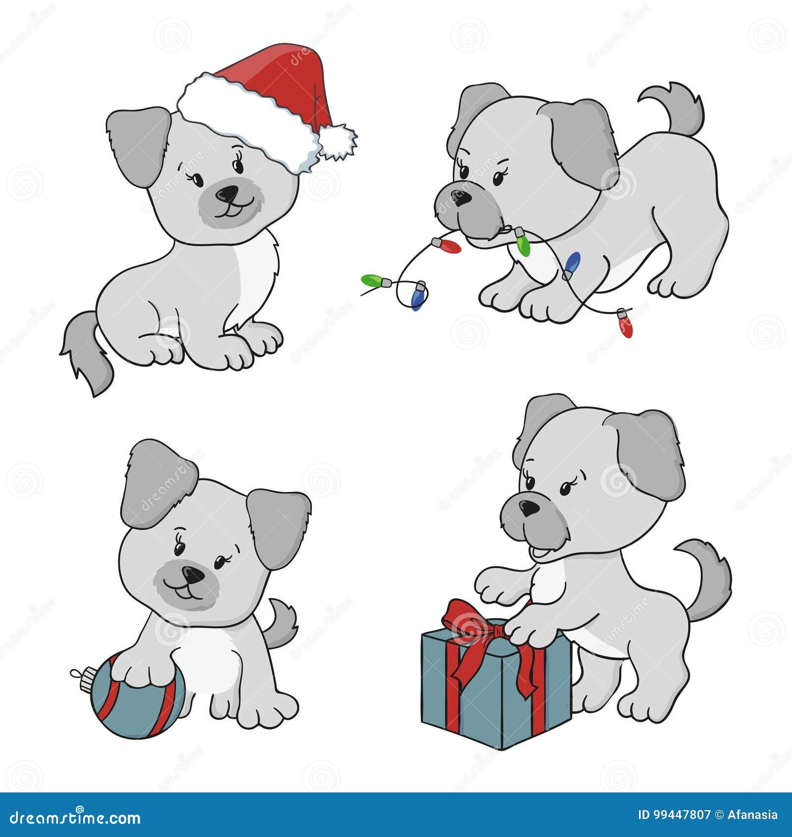 Vrolijke Kerstmis en Gelukkige Nieuwjaar vectorillustraties met beeldverhaalhonden