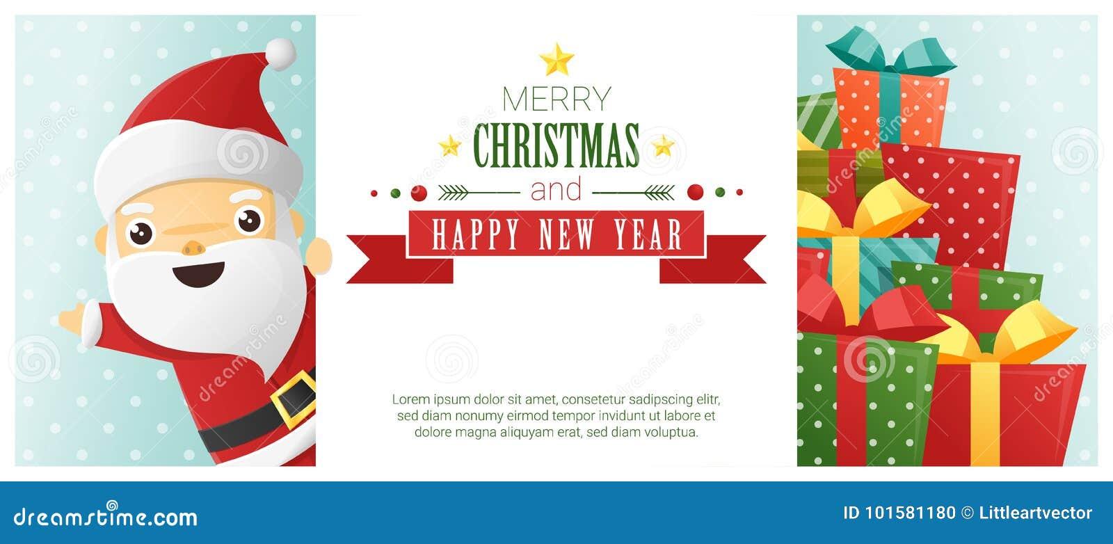 Vrolijke Kerstmis en Gelukkige Nieuwjaarachtergrond met Santa Claus die zich achter aanplakbord bevinden