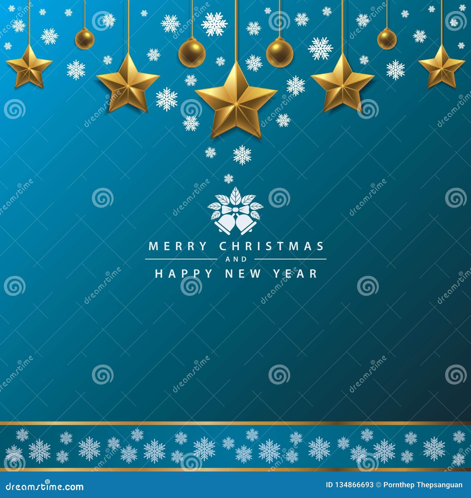 Vrolijke Kerstmis en Gelukkige Nieuwjaartypografie op Blauwe Achtergrond
