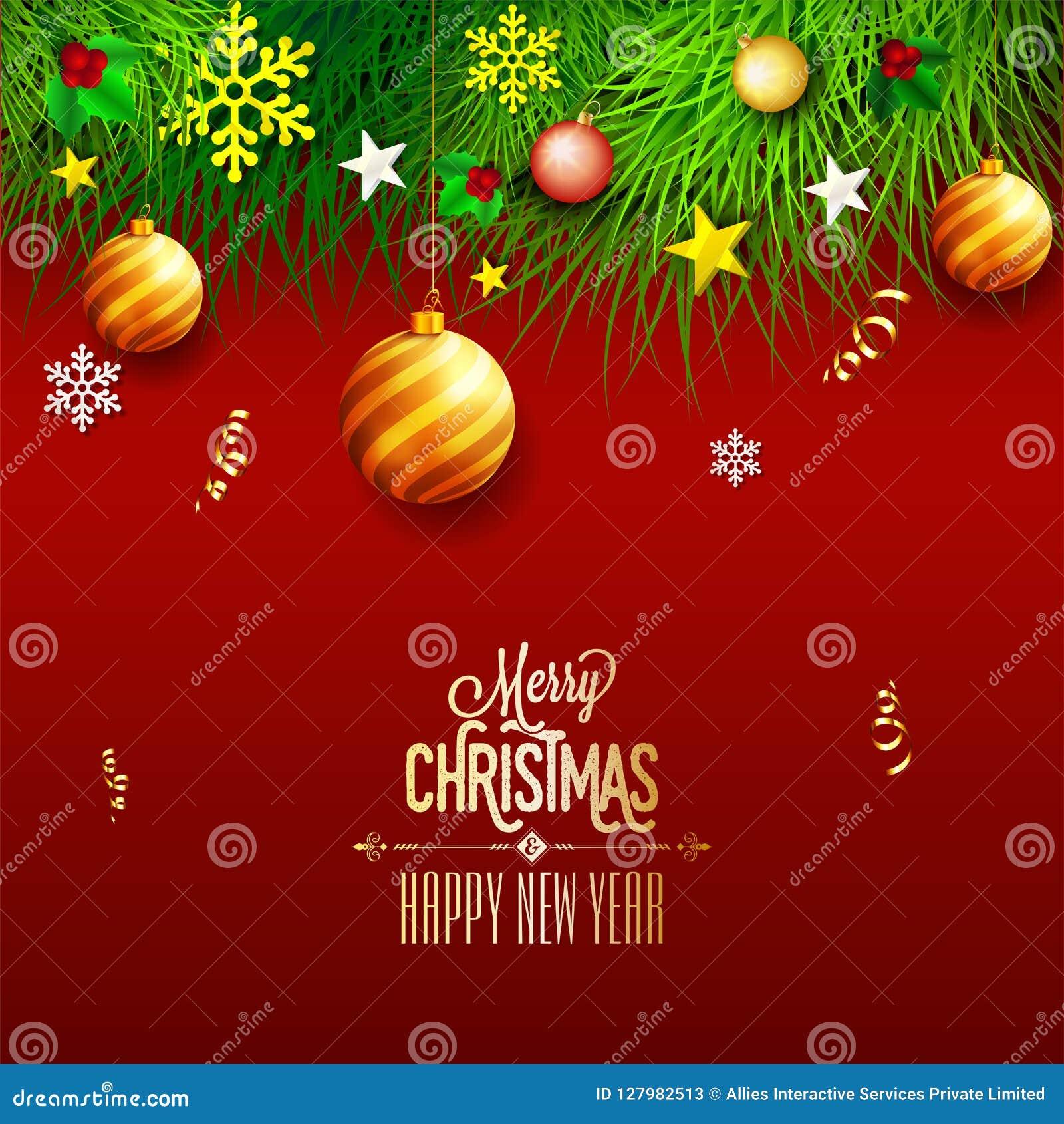 Vrolijke Kerstmis en het Gelukkige de kaartontwerp van de Nieuwjaargroet verfraaien