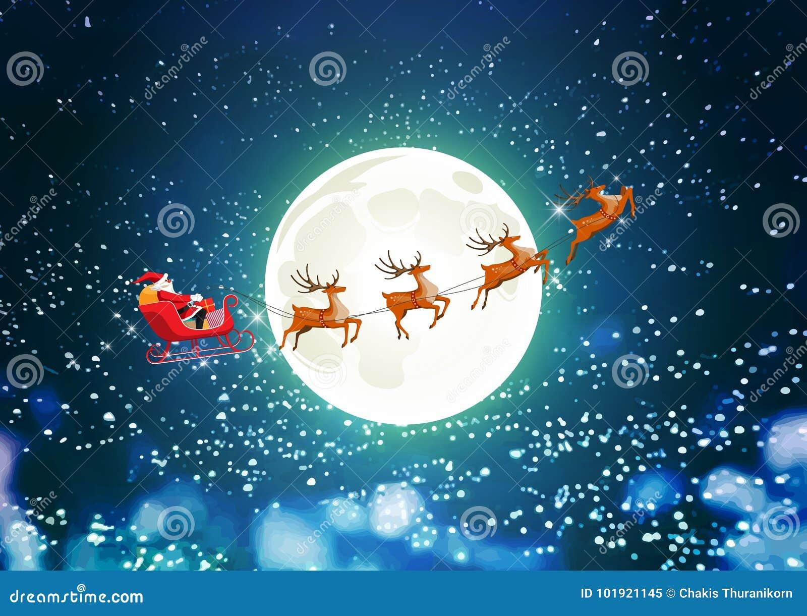 Vrolijke Kerstmis en het Gelukkige Nieuwjaar, Santa Claus drijven ar met rendier op de sterrige hemel, vlakke beeldverhaalstijl,