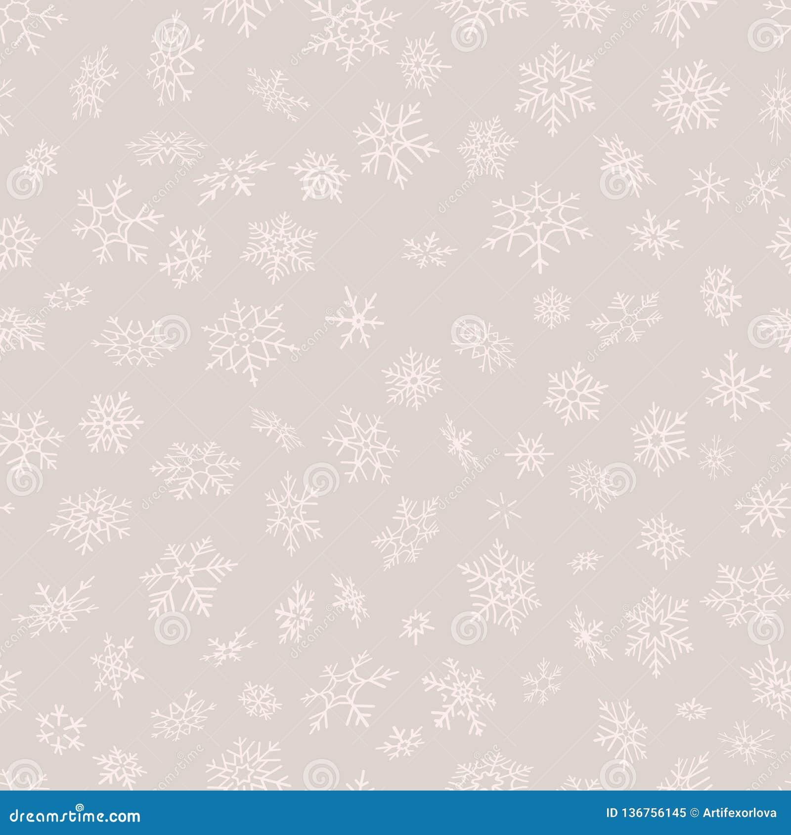 Vrolijke Kerstmis en het Gelukkige patroon van Nieuwjaar naadloze sneeuwvlokken Perfectioneer voor verpakkend document of textiel
