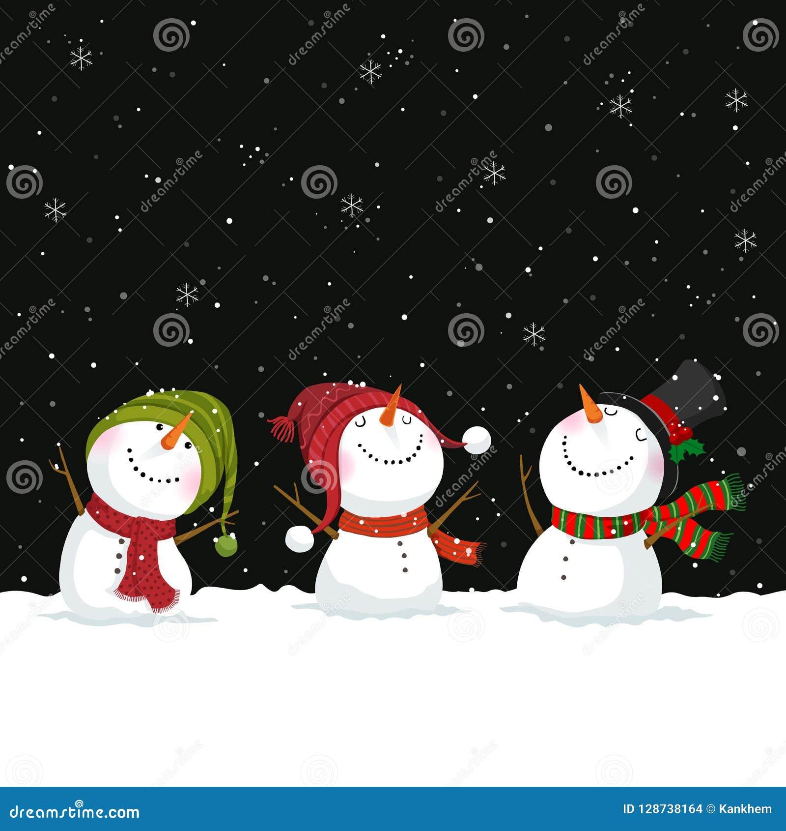 Vrolijke Kerstmis en Nieuwjaargroetkaart met sneeuwmannen