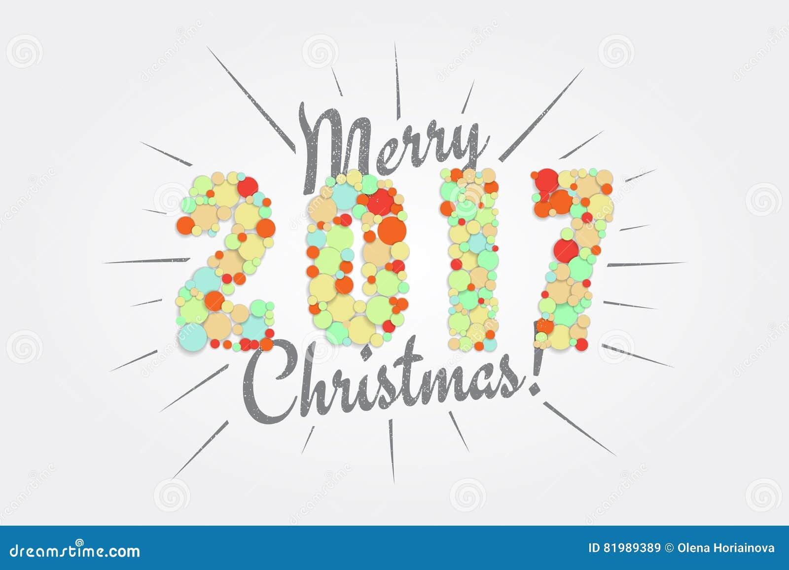 Vrolijke Kerstmis Gelukkig Nieuwjaar 2017 Typografische Etiketten