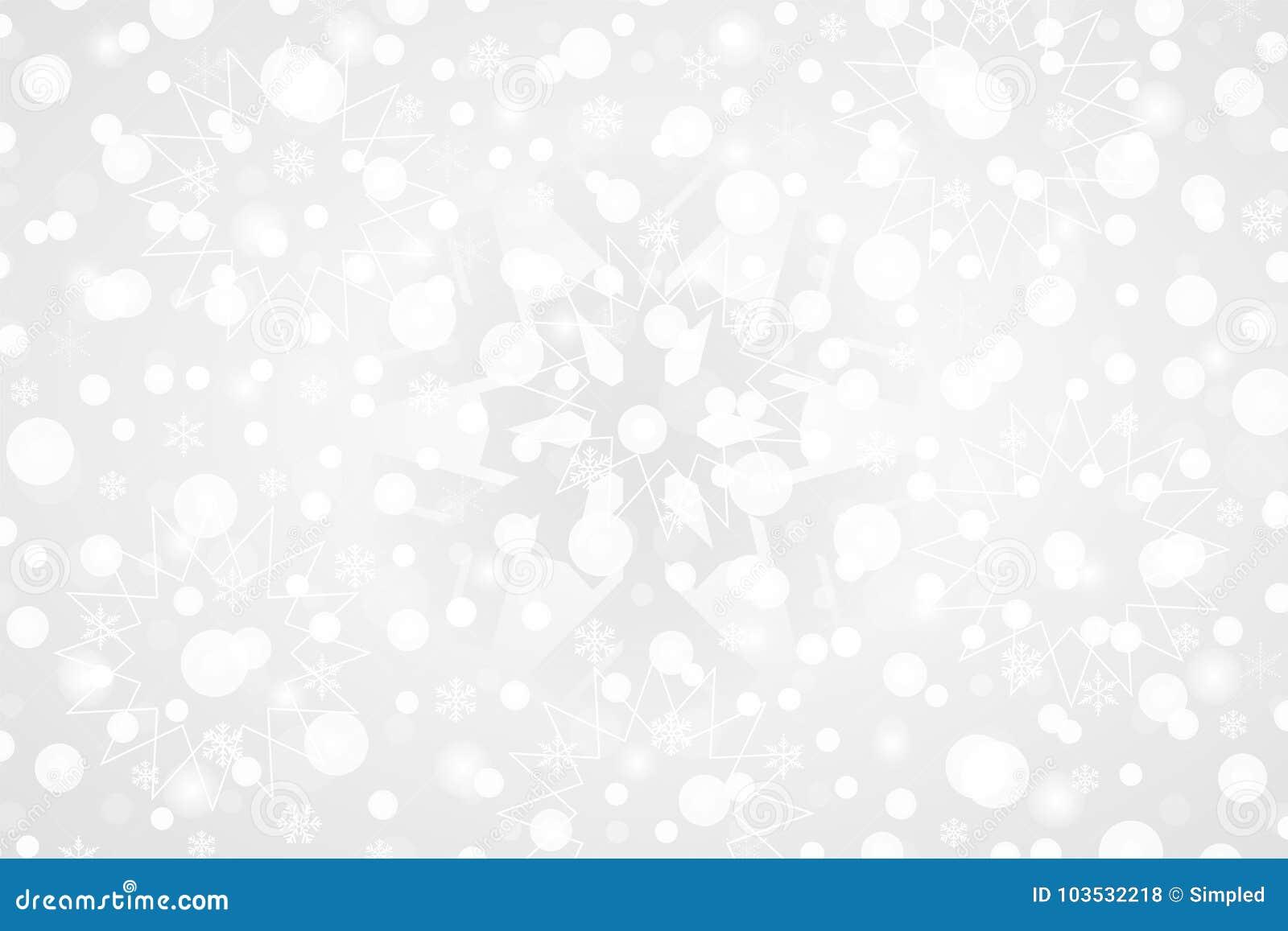 Vrolijke Kerstmis & Gelukkige Nieuwjaar abstracte vectorillustratie Decoratieve grijze witte gradiëntachtergrond met sneeuwvlokke