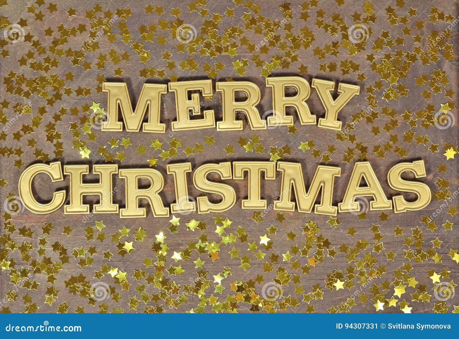 Vrolijke Kerstmis gouden tekst en gouden sterren