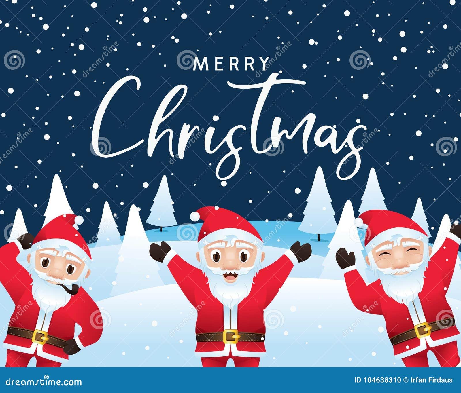 Download Vrolijke Kerstmis Kalligrafisch Met Santakarakters Vector Illustratie - Illustratie bestaande uit vreugde, blauw: 104638310