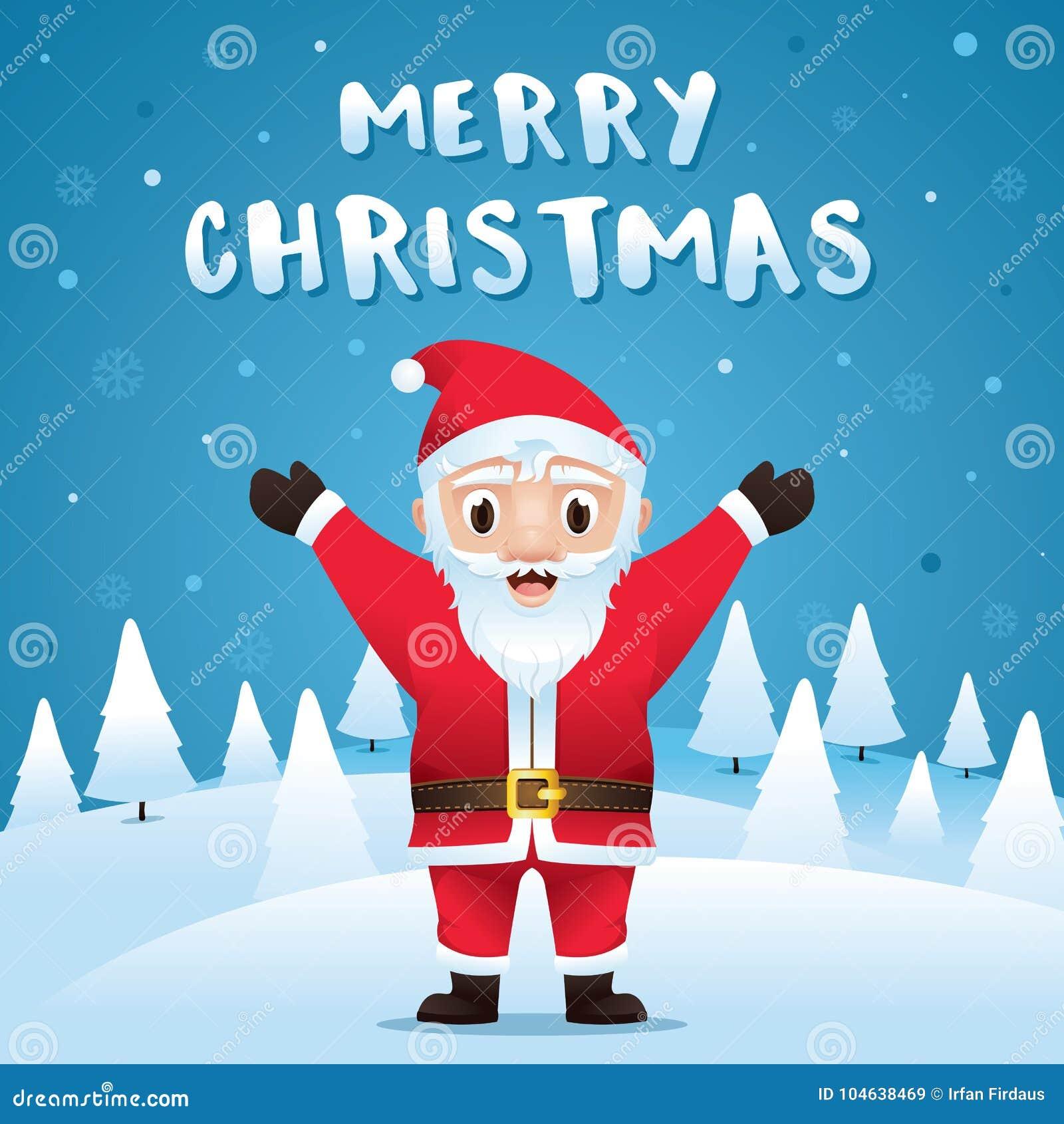 Download Vrolijke Kerstmis! Santa Claus In De Scène Van De Kerstmissneeuw Vector Illustratie - Illustratie bestaande uit groet, voor: 104638469