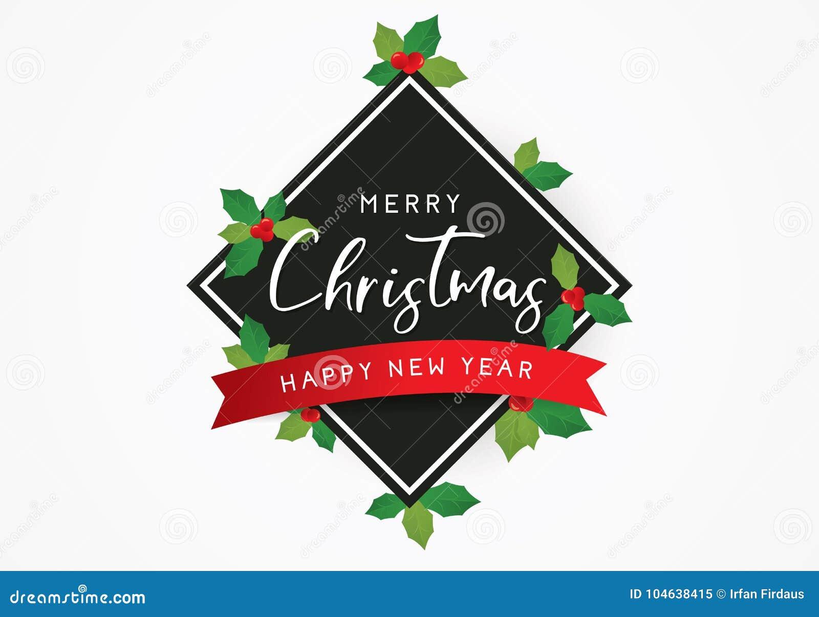 Download Vrolijke Kerstmisachtergrond Of Het Malplaatje Van De Groetaffiche Met Bladeren Vector Illustratie - Illustratie bestaande uit gelukkig, creativiteit: 104638415
