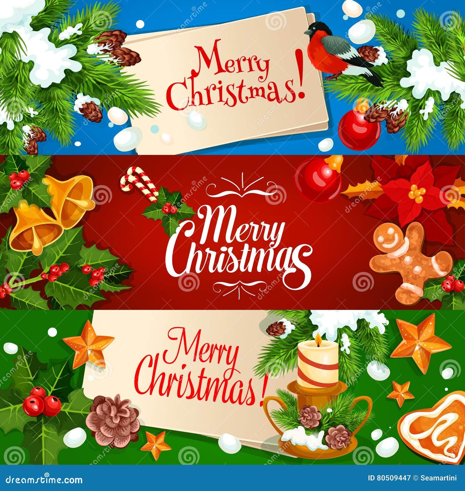 Vrolijke Kerstmisbanner en de reeks van de groetkaart