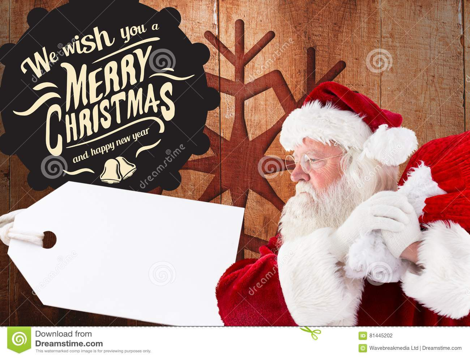 Vrolijke Kerstmisgroeten met de holdingszak van de Kerstman