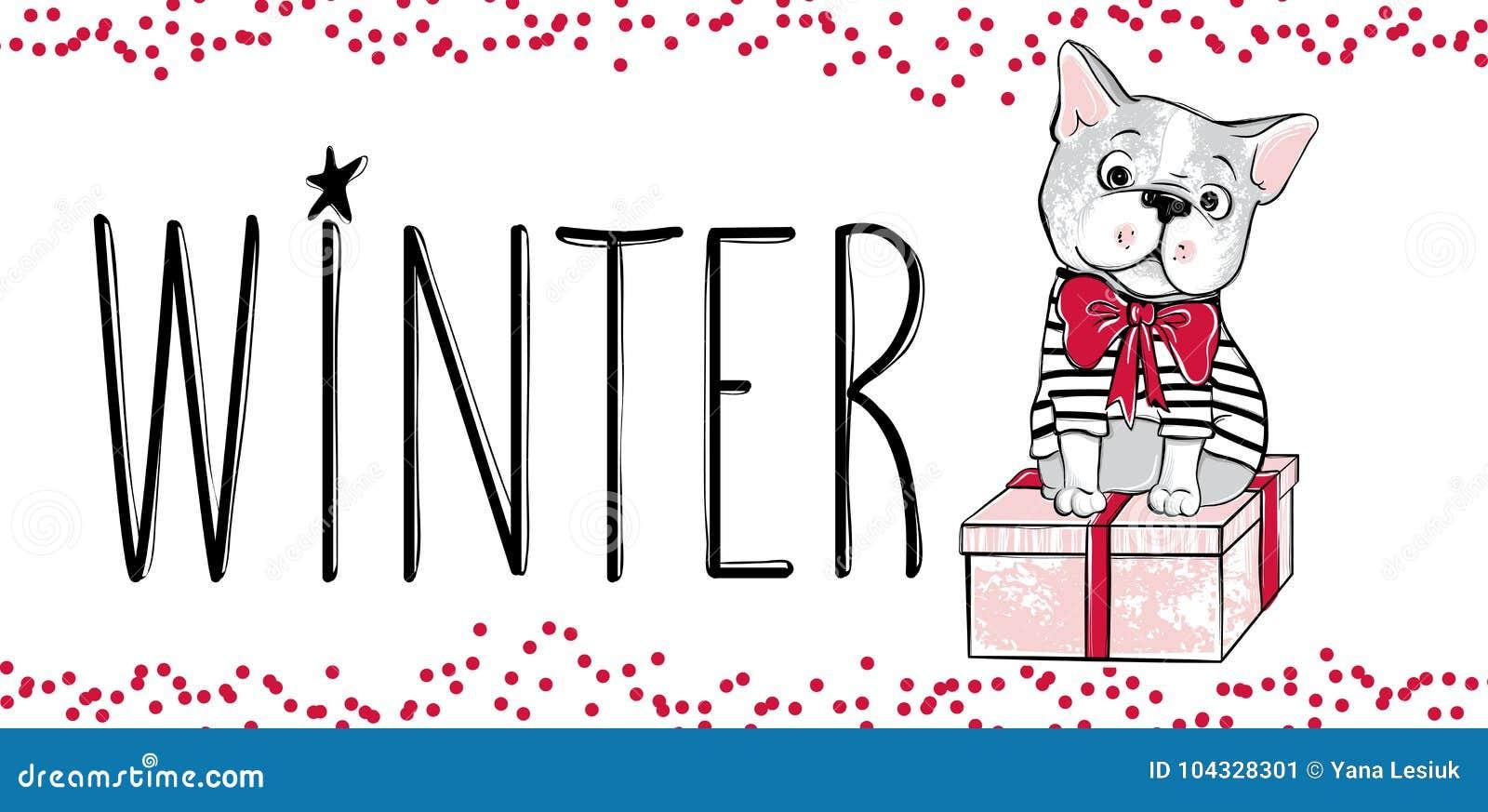 Vrolijke Kerstmisillustratie met grappige hond Hand getrokken vector Franse buldogpuppy en giftdoos Gelukkig Nieuwjaar