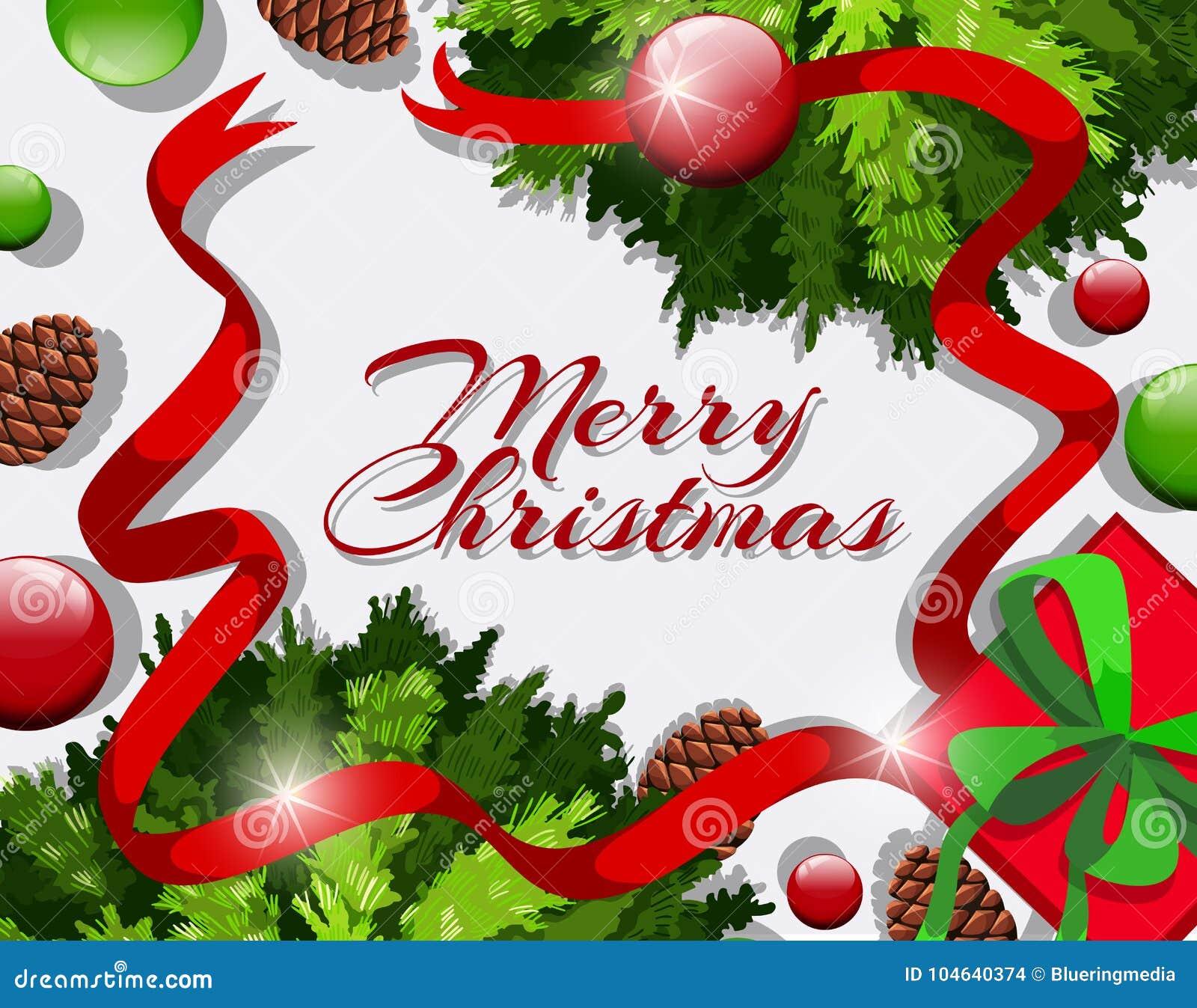 Download Vrolijke Kerstmiskaart Met Rode Linten En Ornamenten Vector Illustratie - Illustratie bestaande uit achtergrond, klem: 104640374