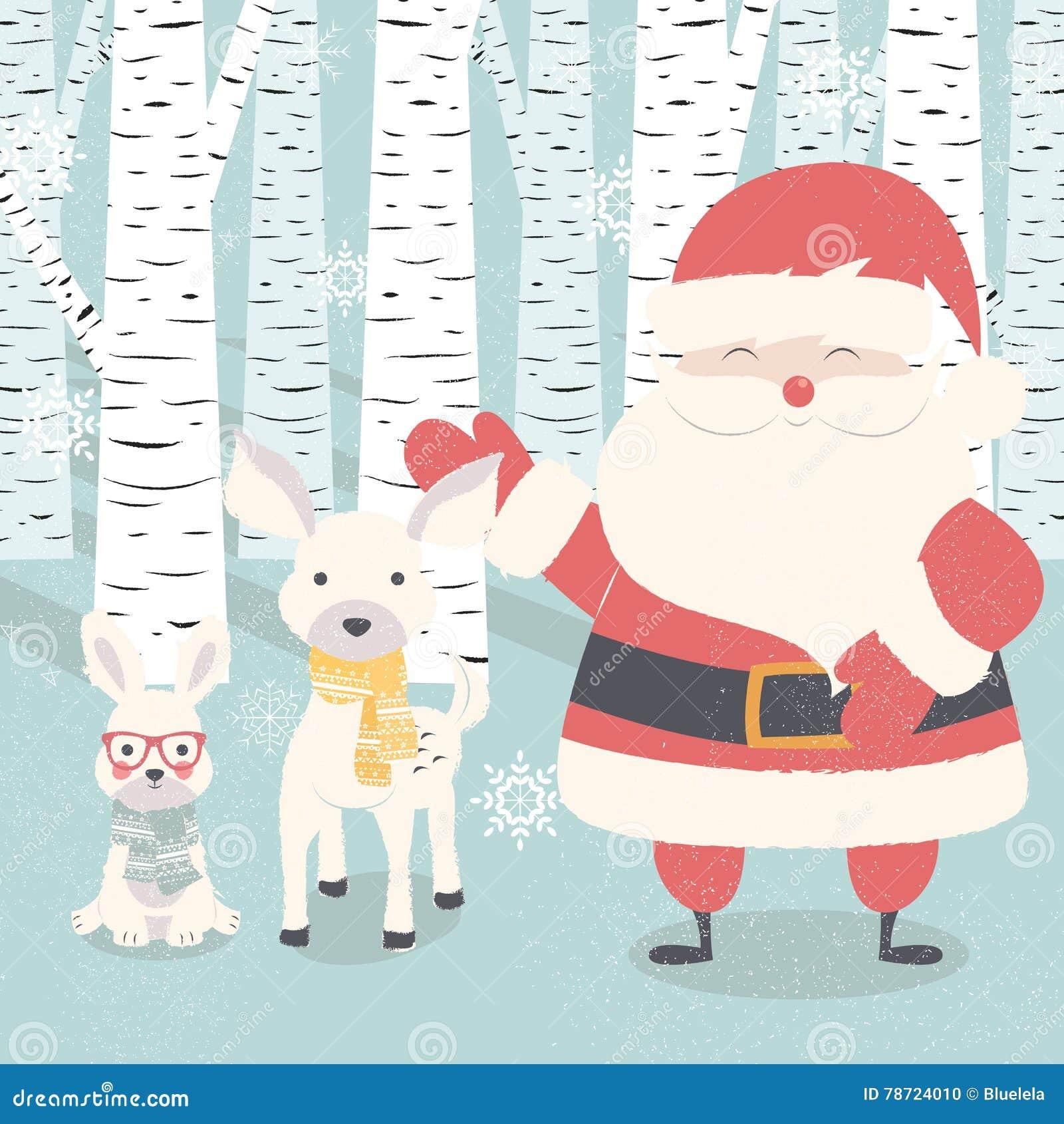 Vrolijke Kerstmisprentbriefkaar met Santa Claus, herten, konijn in bos