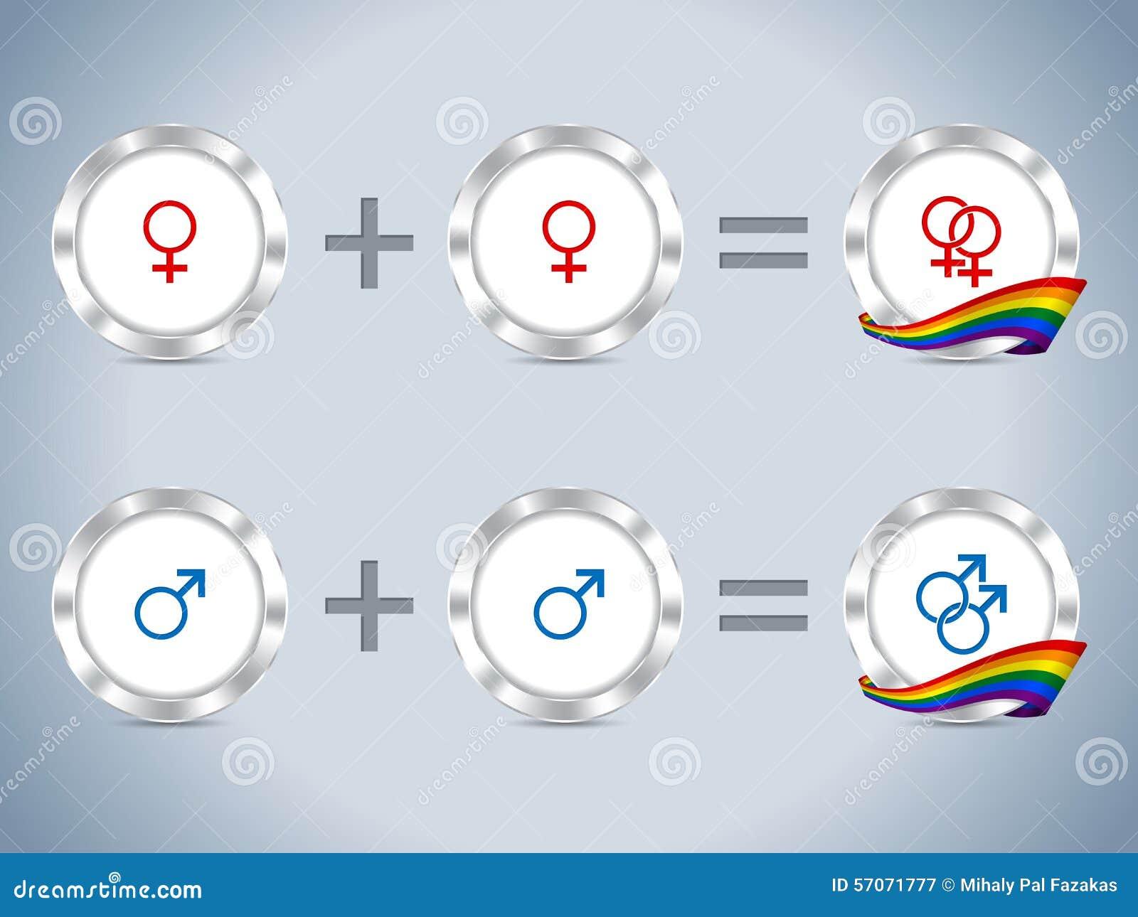 Vrolijke lesbische symbolen met vlag en kentekens