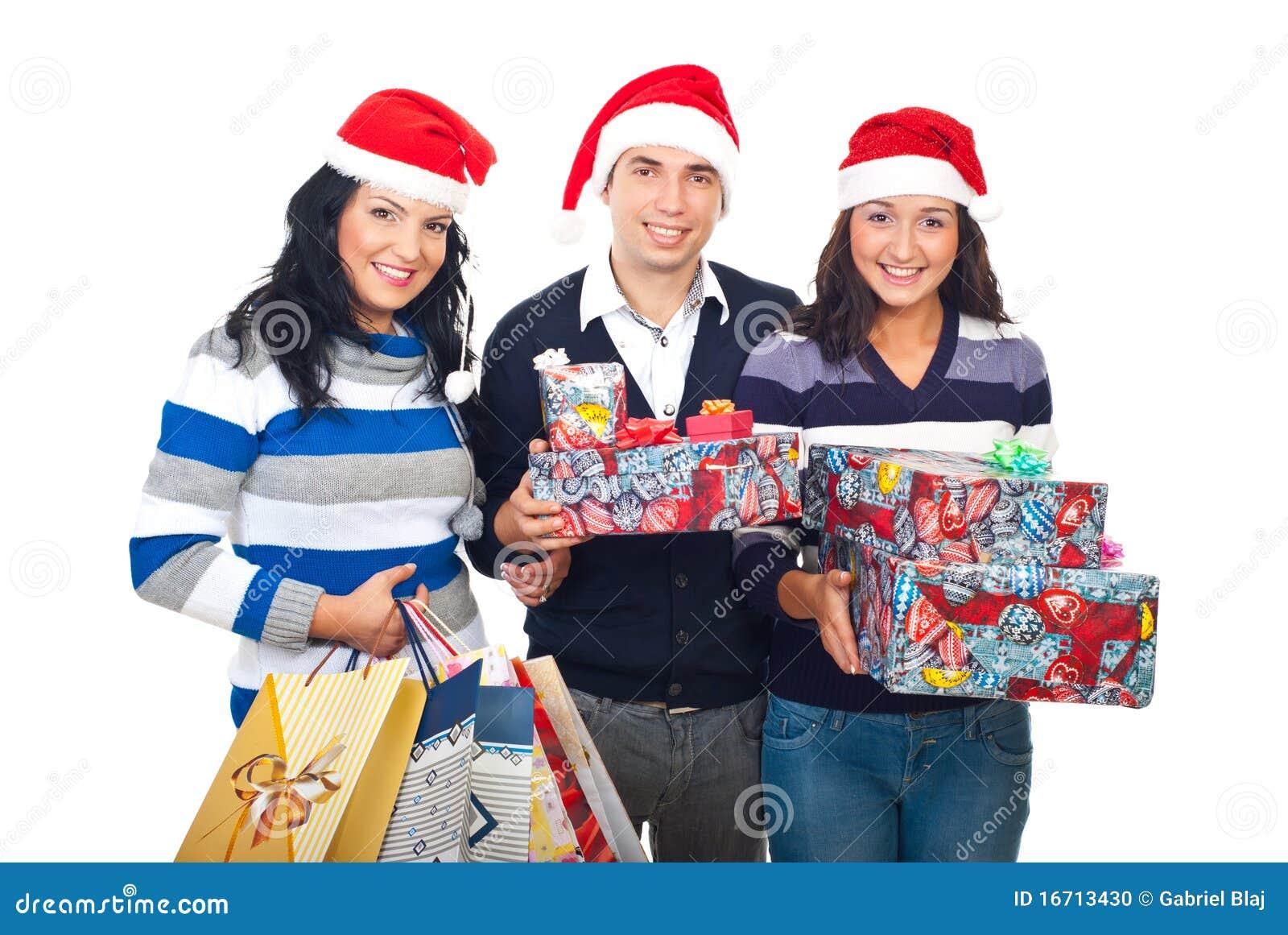 Vrolijke vrienden met de giften van Kerstmis