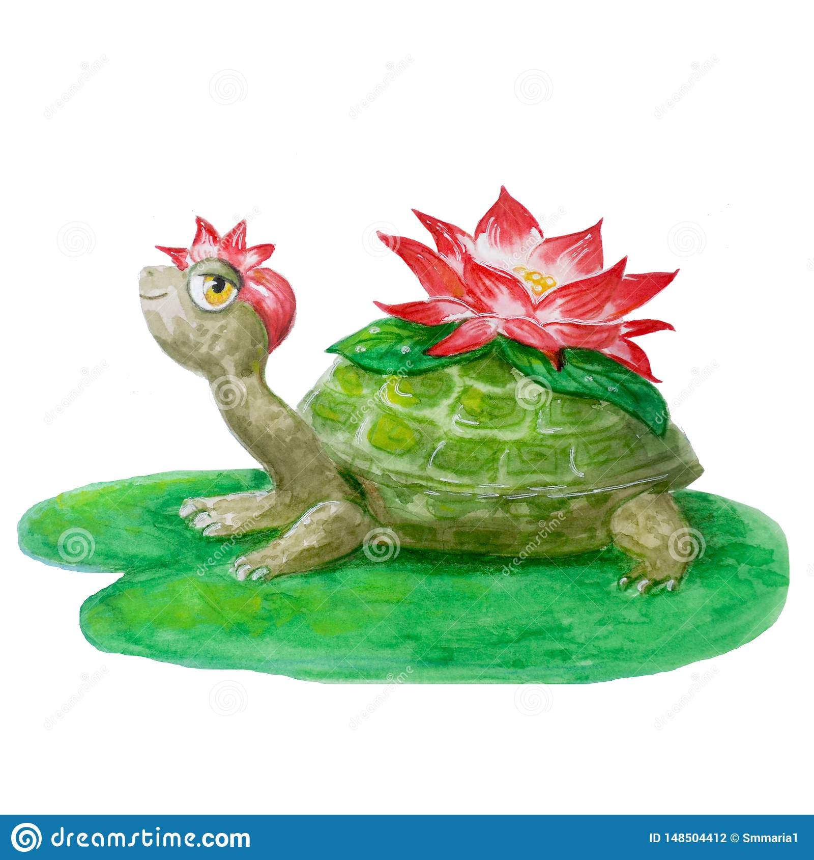 Vrolijke waterverfschildpad met een bloem Hand-drawn het glimlachen dier dat op een witte achtergrond voor het ontwerp van kinder