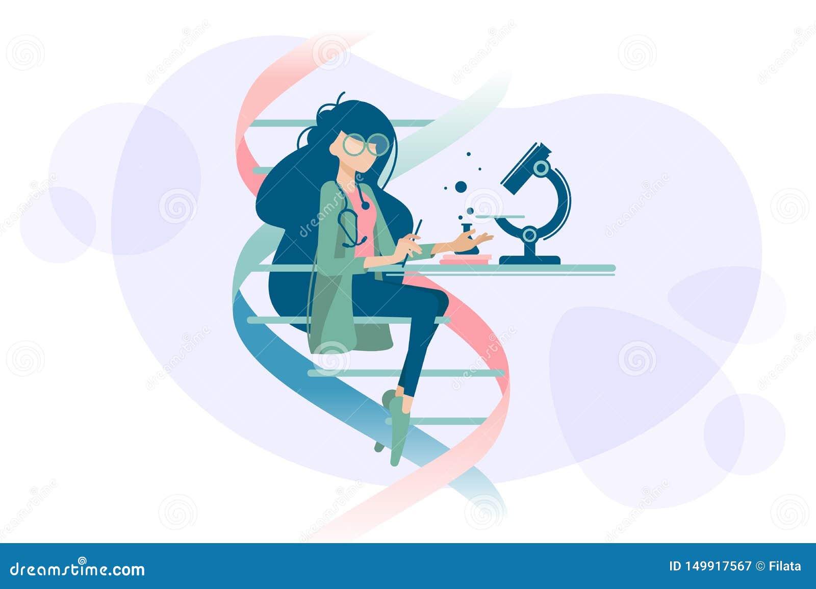 Vrouw de arts onderzoekt DNA-microscoop