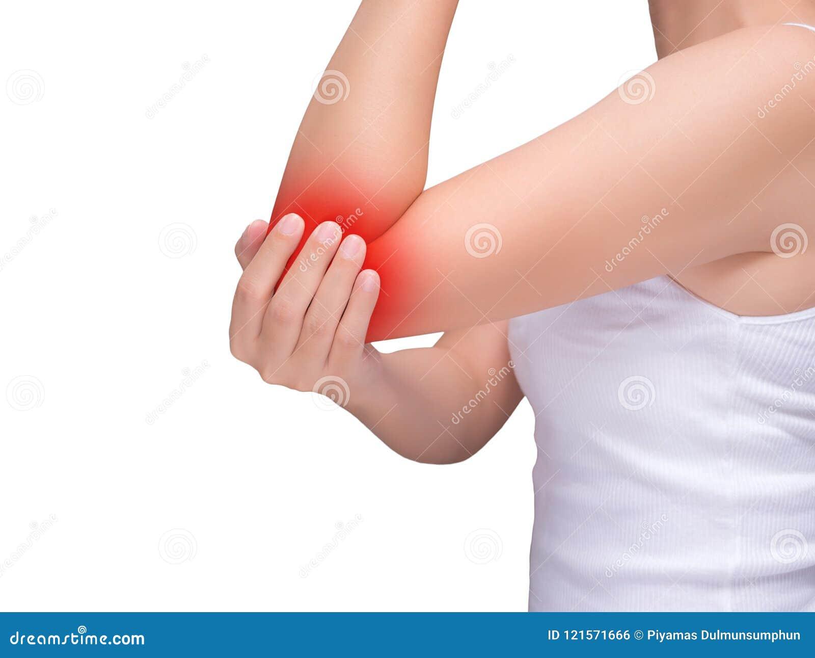 Vrouw die aan elleboogpijn lijden, gezamenlijke pijnen rood hoogtepunt