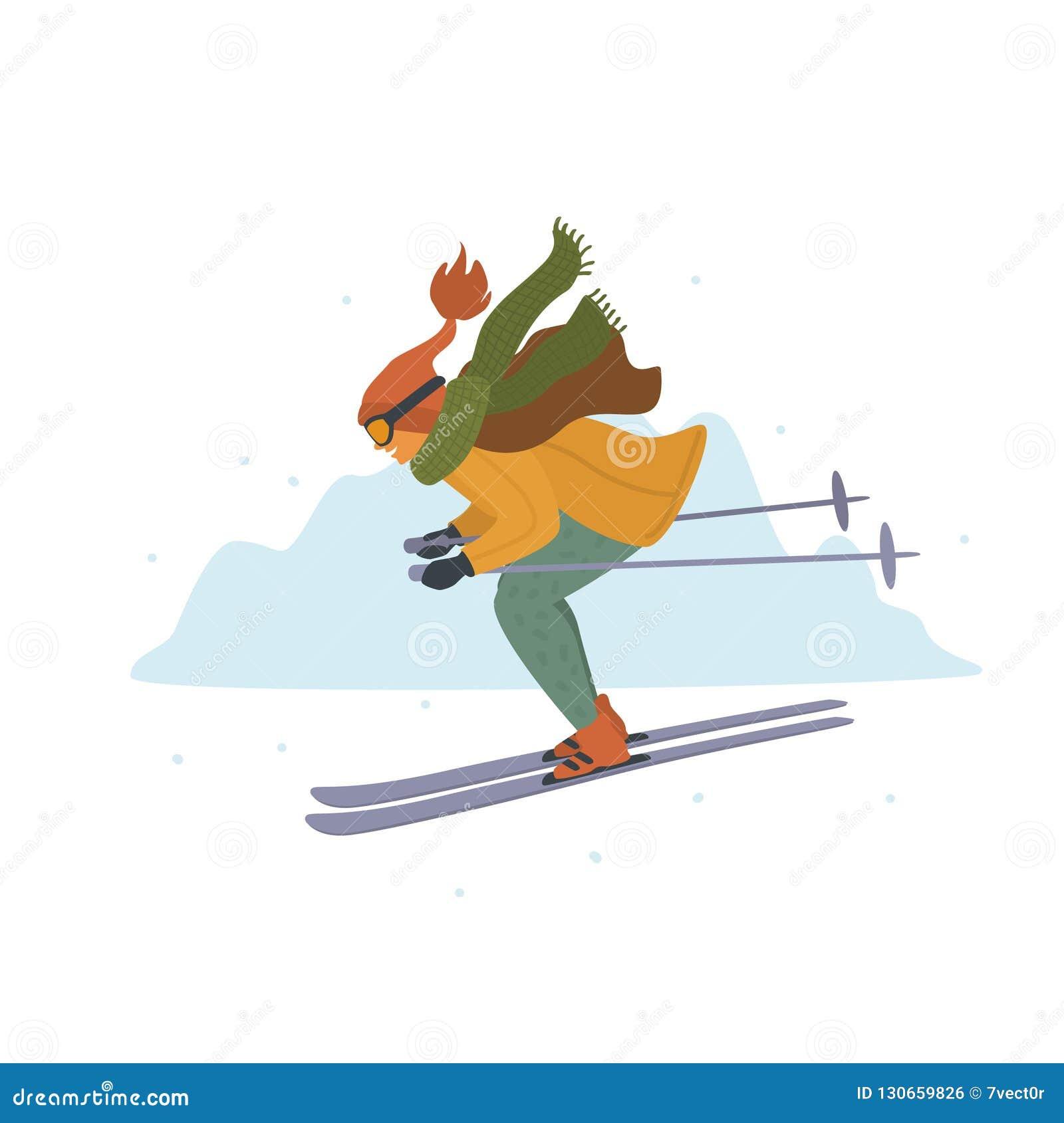 Vrouw die bergaf in de toevluchtbeeldverhaal geïsoleerde vectorillustratie van de winterbergen ski?en
