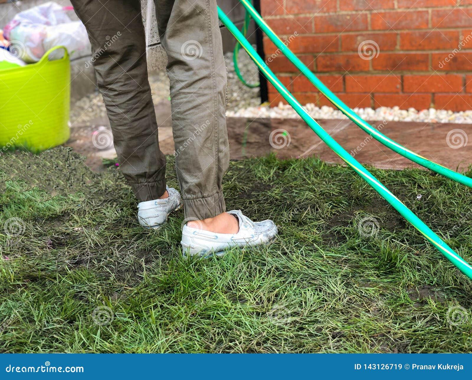 Vrouw die de tuinslang gebruiken om plakken in haar achtertuintje schoon te maken