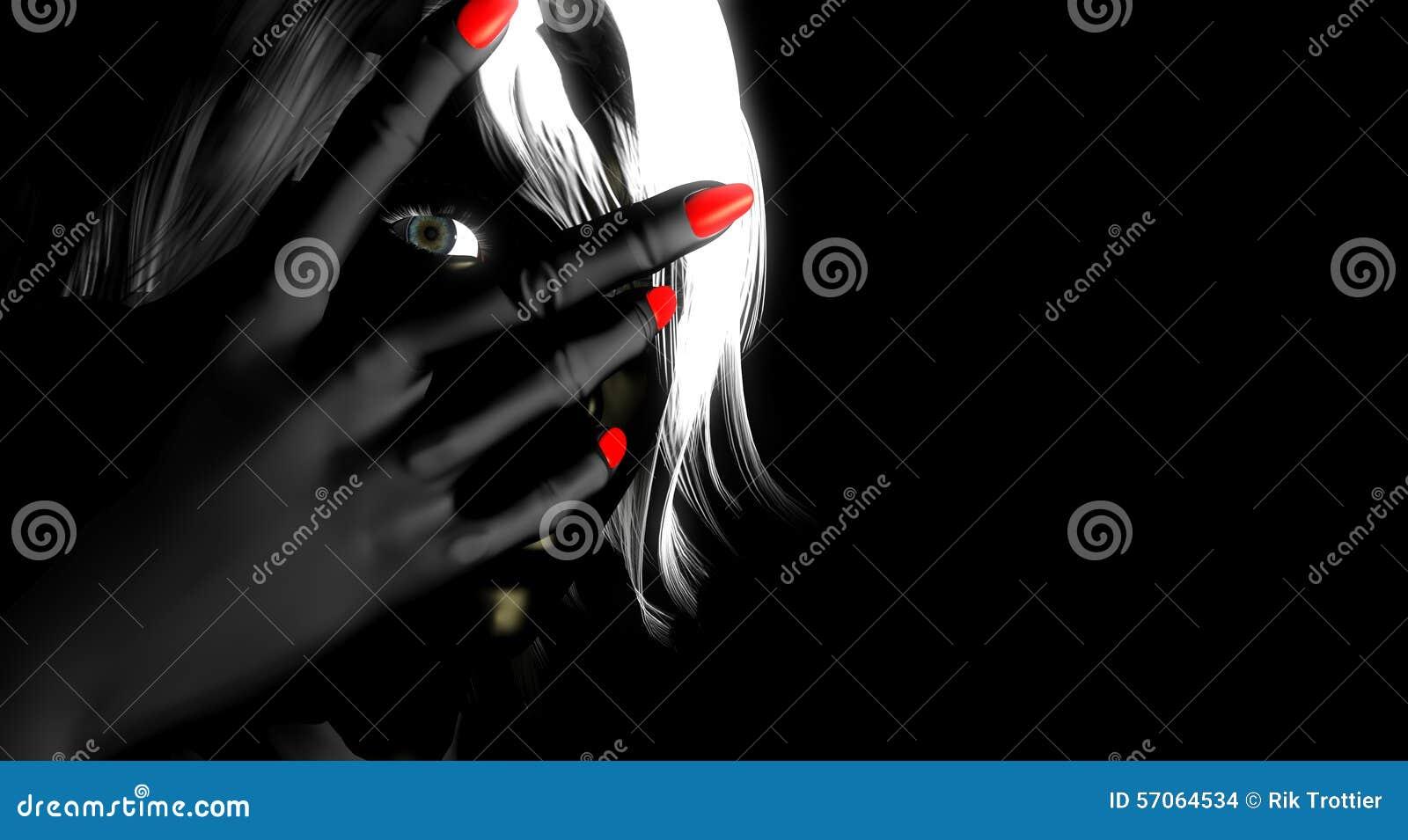 Vrouw die door vingers gluurt