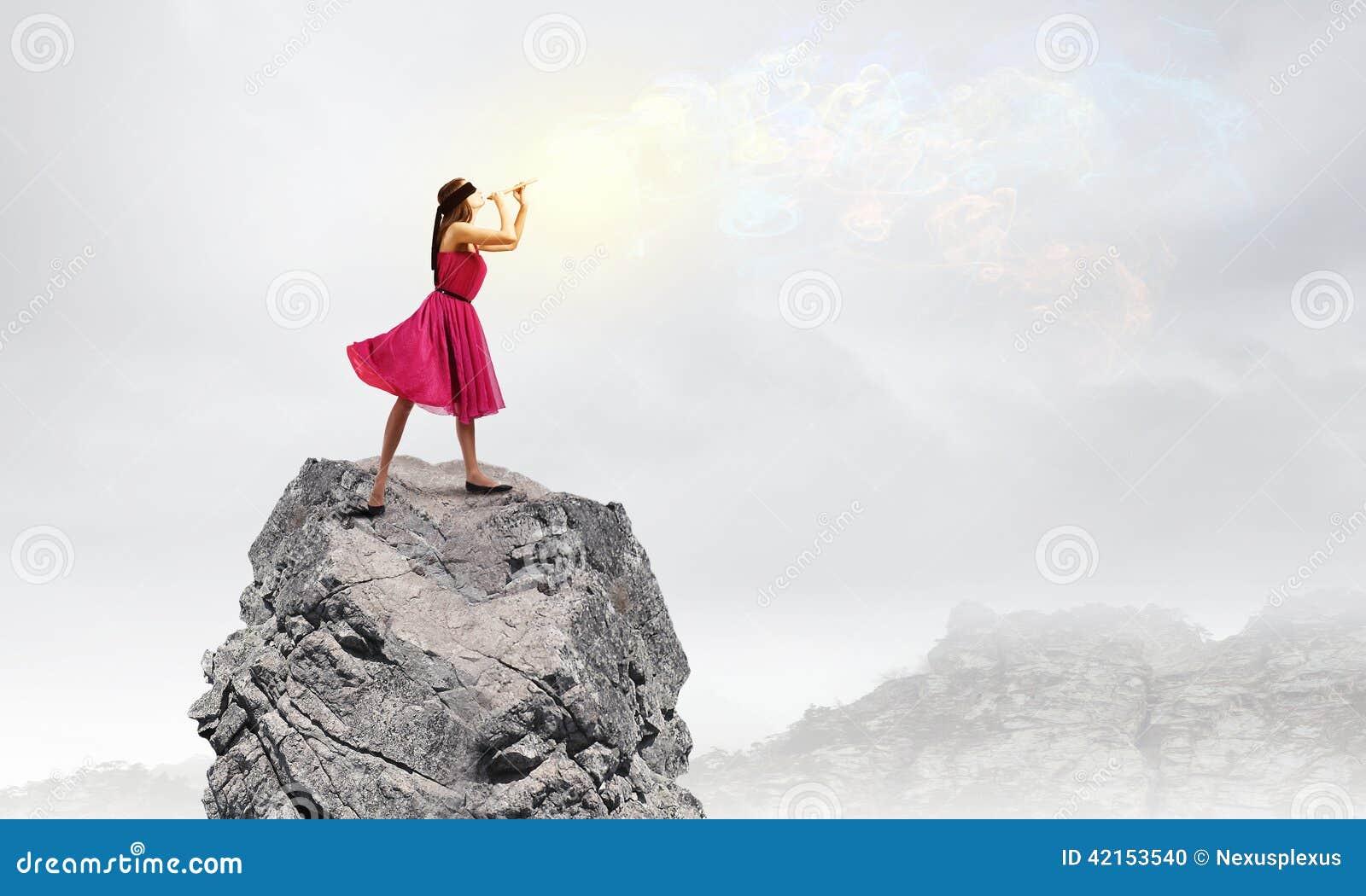 Vrouw die Fife spelen