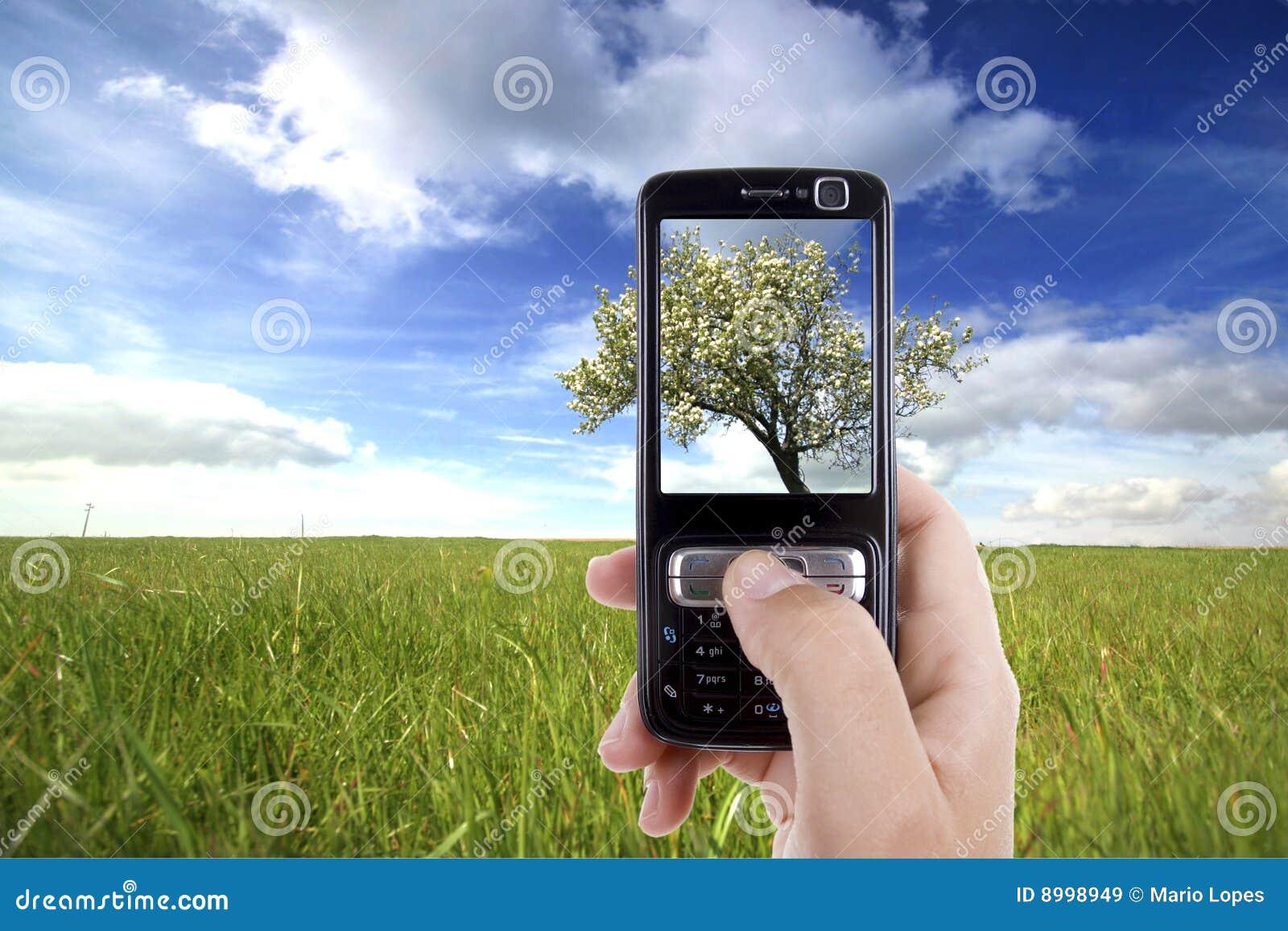 Vrouw die foto met mobiele celtelefoon neemt