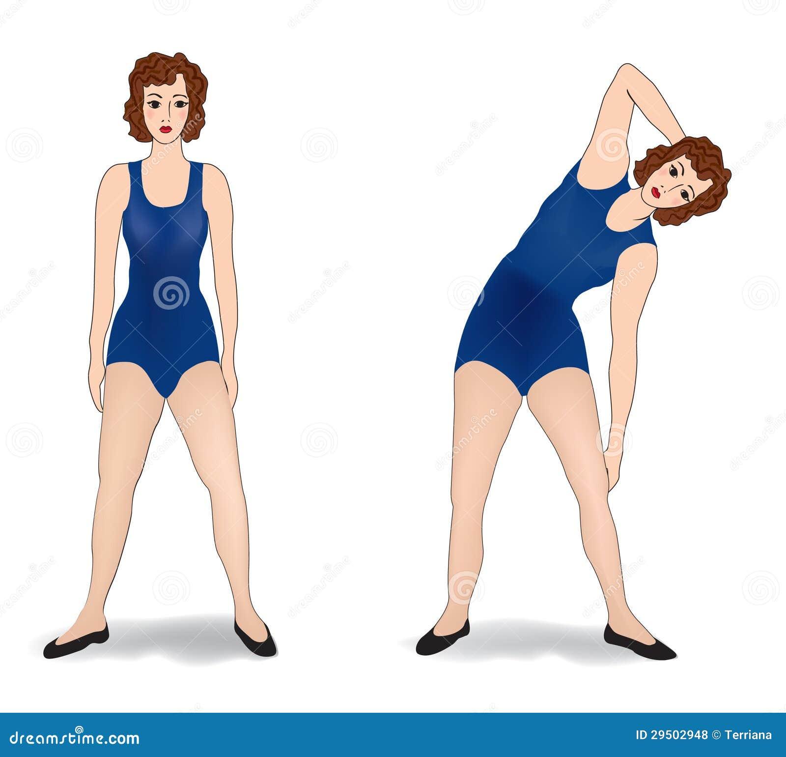 Vrouw die in gymnastiekreeks uitoefenen