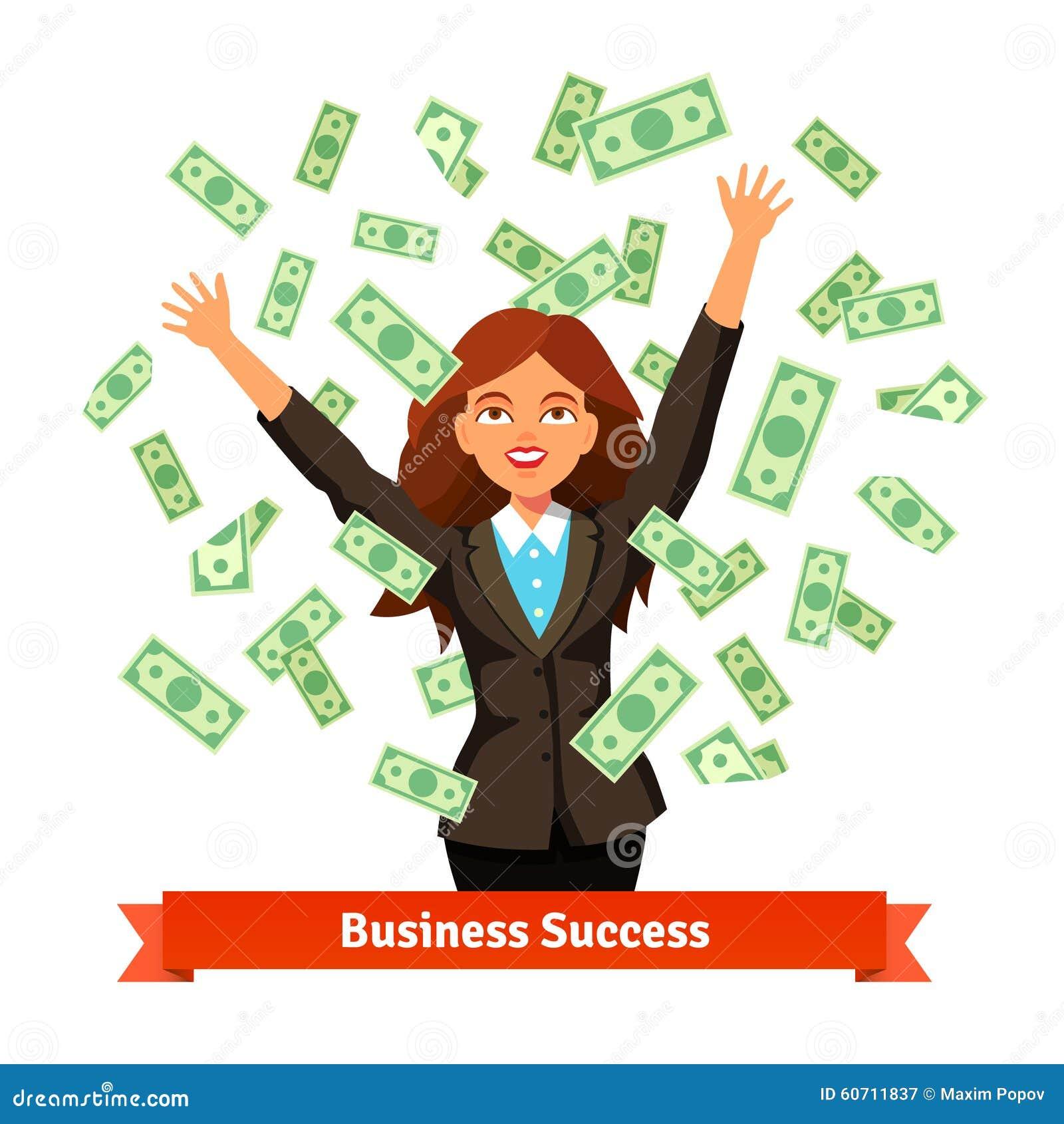 Vrouw die het groene geld van het dollarcontante geld in de lucht werpen
