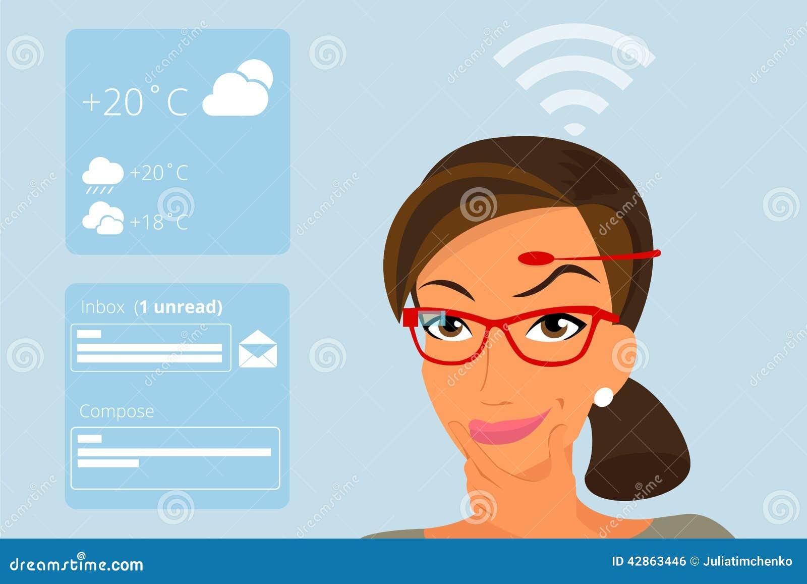 Vrouw die hoofd-opgezette hardwaretechnologieën gebruiken