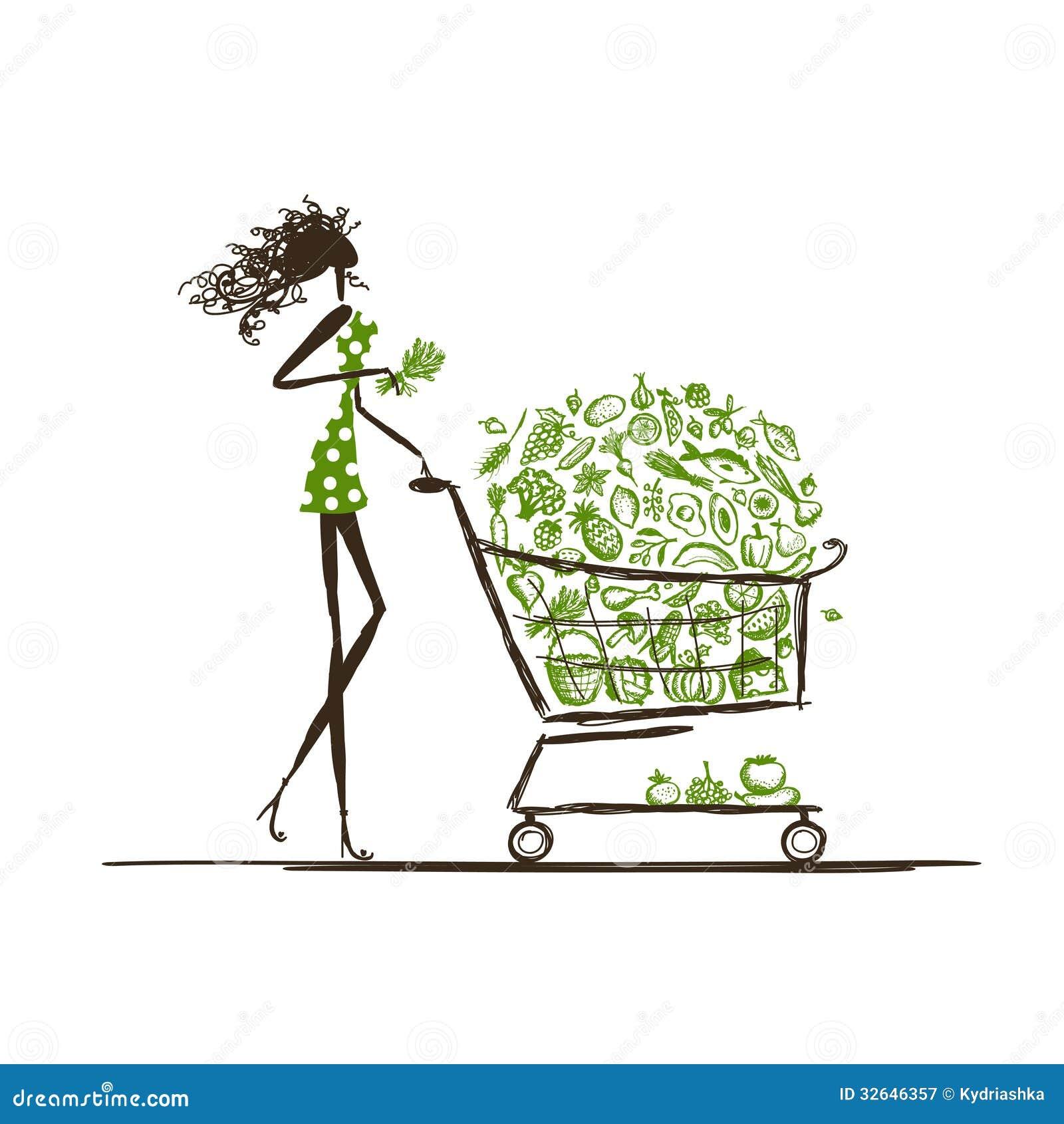 Vrouw die met voedselkarretje winkelen in supermarkt