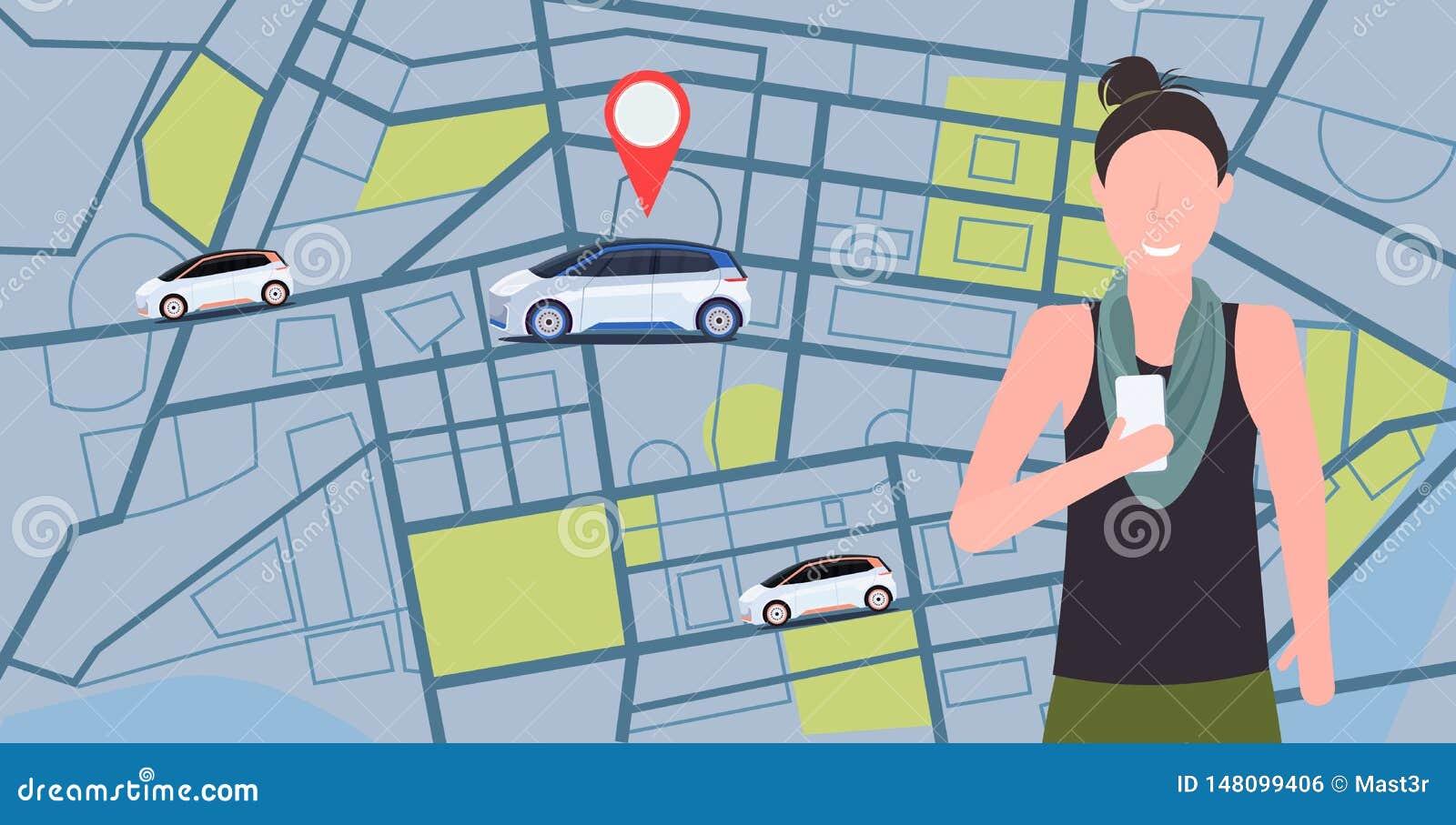 Vrouw die mobiele toepassing gebruiken die tot automobiel voertuig met de huurauto opdracht geven die van het plaatsteken het car