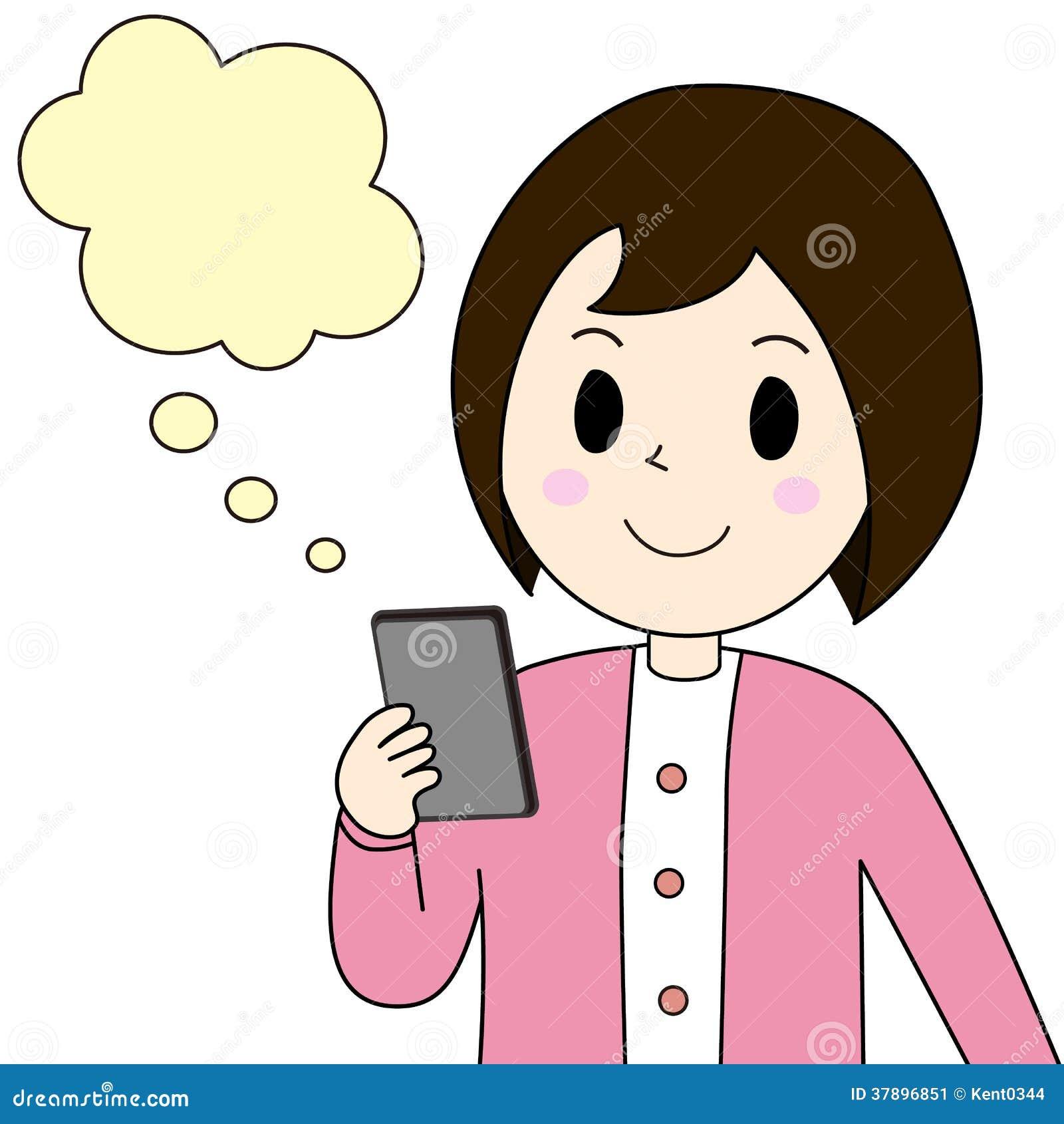 Vrouw die op een slimme telefoon let