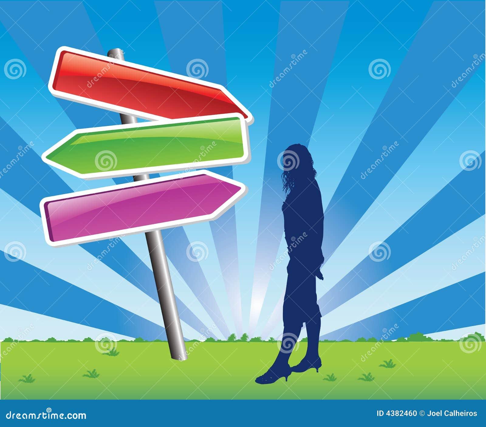 Vrouw die richtingen krijgt