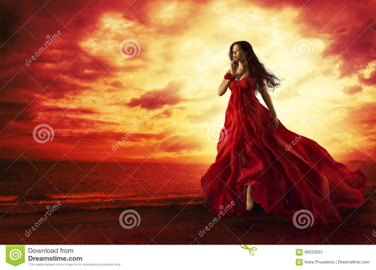 Vrouw die Rode Kleding, Mannequin in Avondtoga het Levitatie ondergaan vliegen