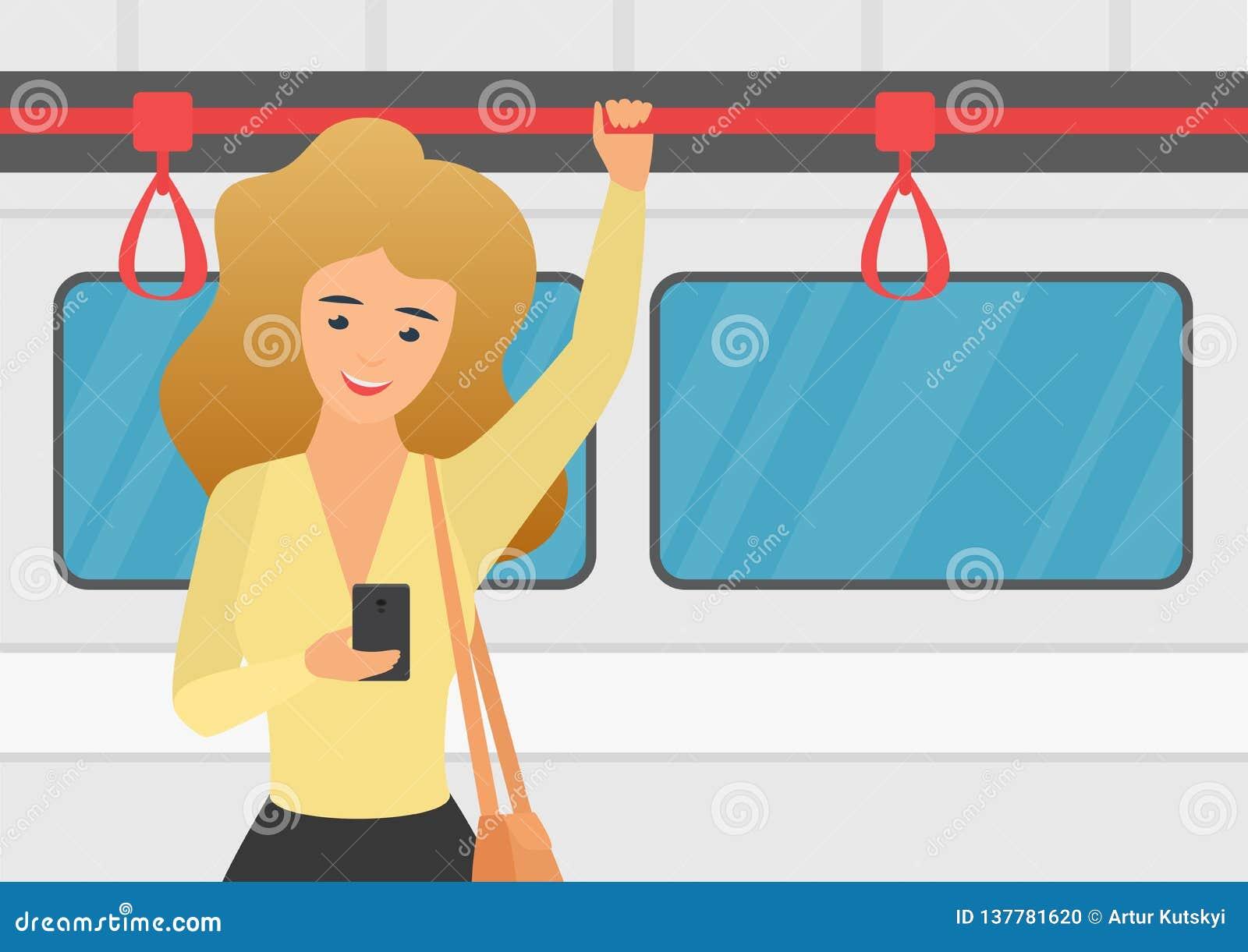 Vrouw die smartphone in openbaar vervoer vectorillustratie gebruiken