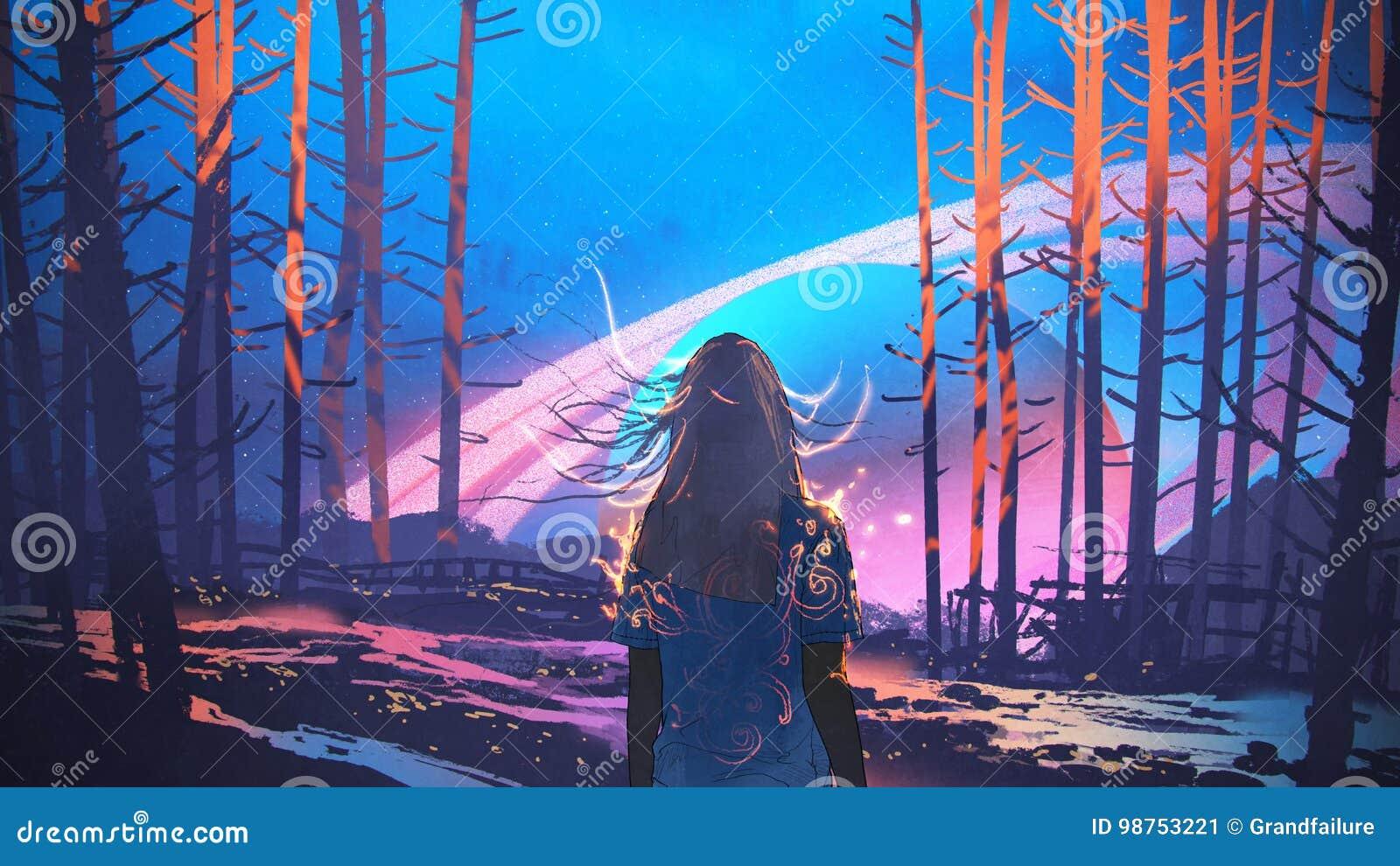 Vrouw die zich alleen in bos met fictieve achtergrond bevinden