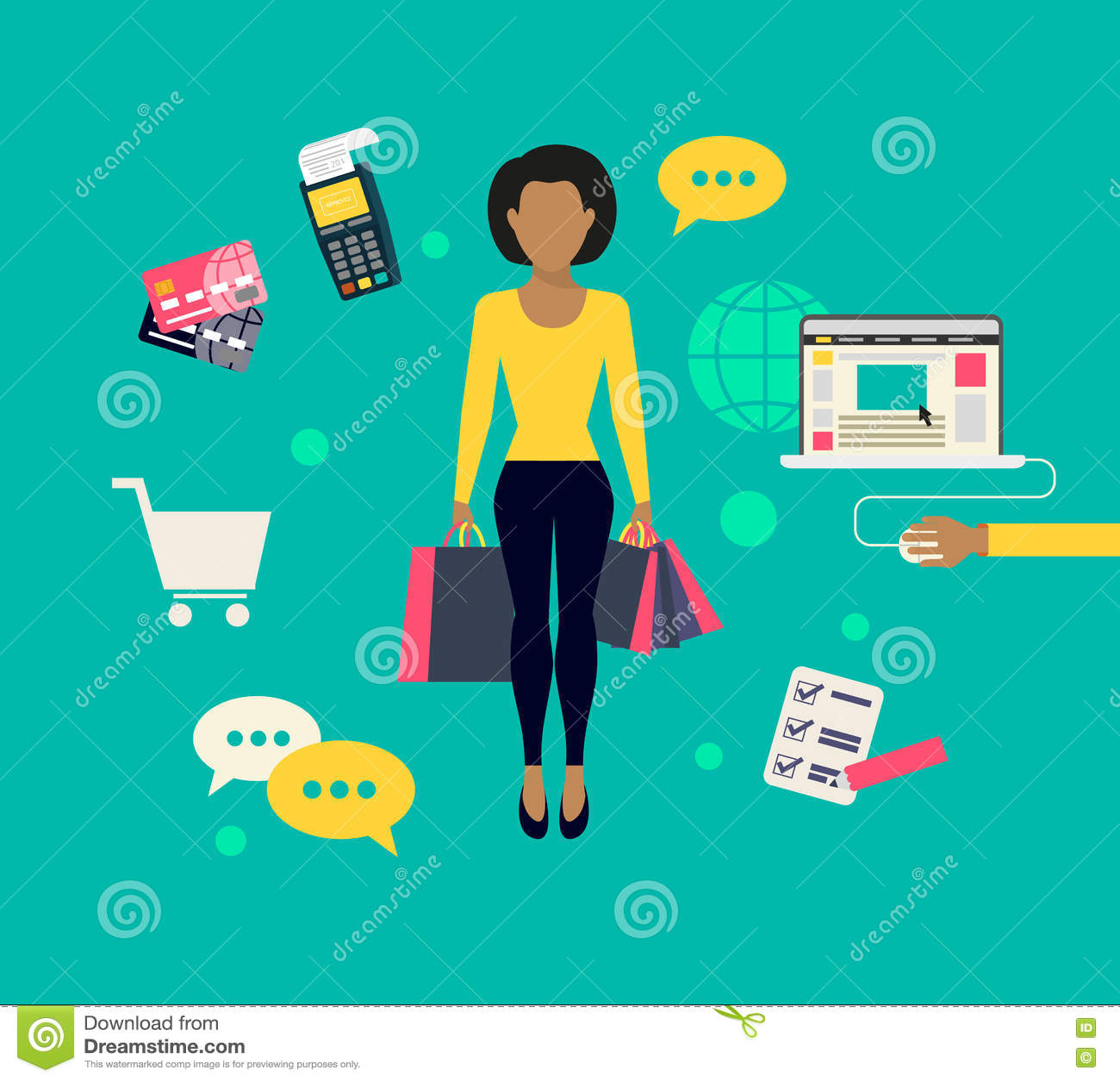 Vrouw doen die online winkelen