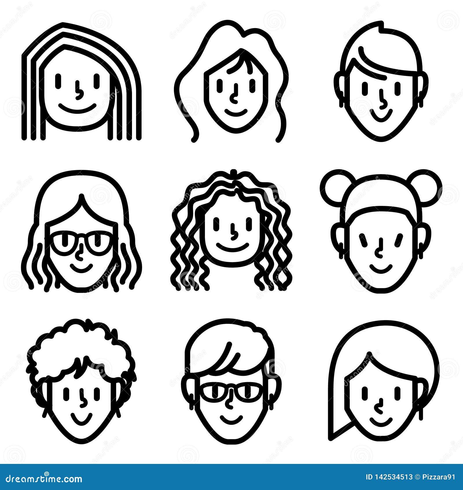 Vrouw en meisjesgezichtsavatar pictogrammen