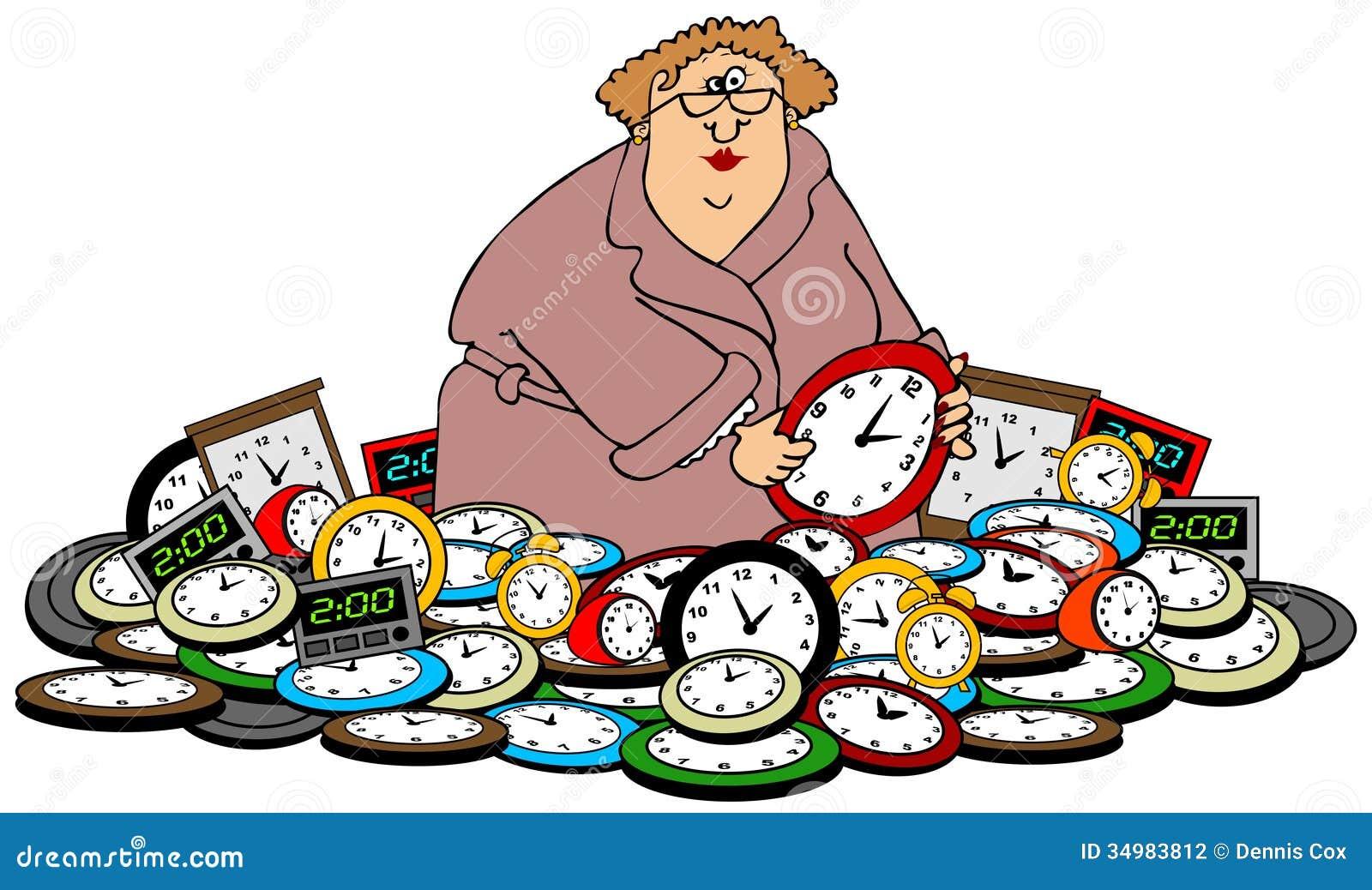 Vrouw het plaatsen klokken