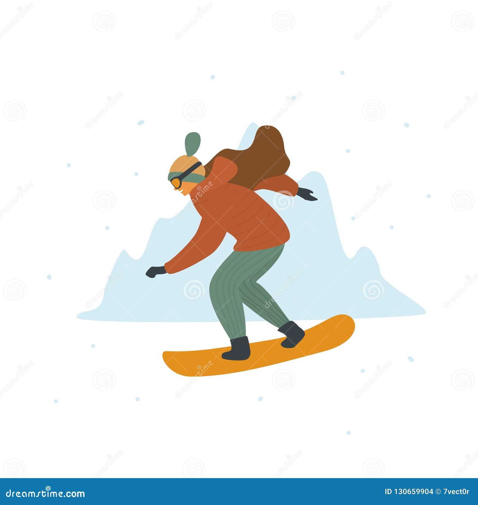 Vrouw het snowboarding in de toevlucht van de winterbergen